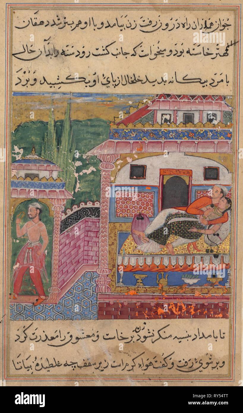 La page de contes d'un perroquet (Tuti-nama): Huitième nuit: le fourbe femme persuade son mari de dormir dans l'endroit même où elle avait déjà couché avec son amant, 1558-1560. L'Inde, l'Empire moghol, règne d'Akbar (1556-1605), 16e siècle. Aquarelle, encre, opaque et d'or sur papier Photo Stock