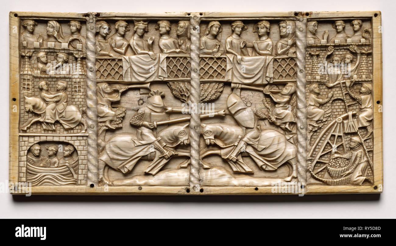 Trois panneaux d'un cercueil avec des scènes de romances courtoises , ch. 1330-1350 ou plus tard. France, Lorraine?, la période gothique, 14ème siècle. L'ivoire; Total: 13 x 26,2 x 1 cm (5 1/8 x 10 5/16 x 3/8 in. Photo Stock