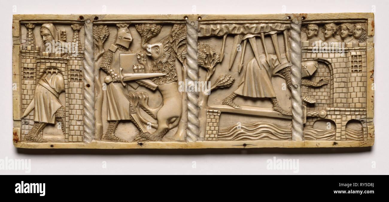 Bord d'un cercueil avec des scènes de romans Courtois, 1330. France, Lorraine?, la période gothique, 14ème siècle. L'ivoire; total: 9,7 x 25,9 x 0,8 cm (3 13/16 x 10 3/16 x 5/16 in Photo Stock