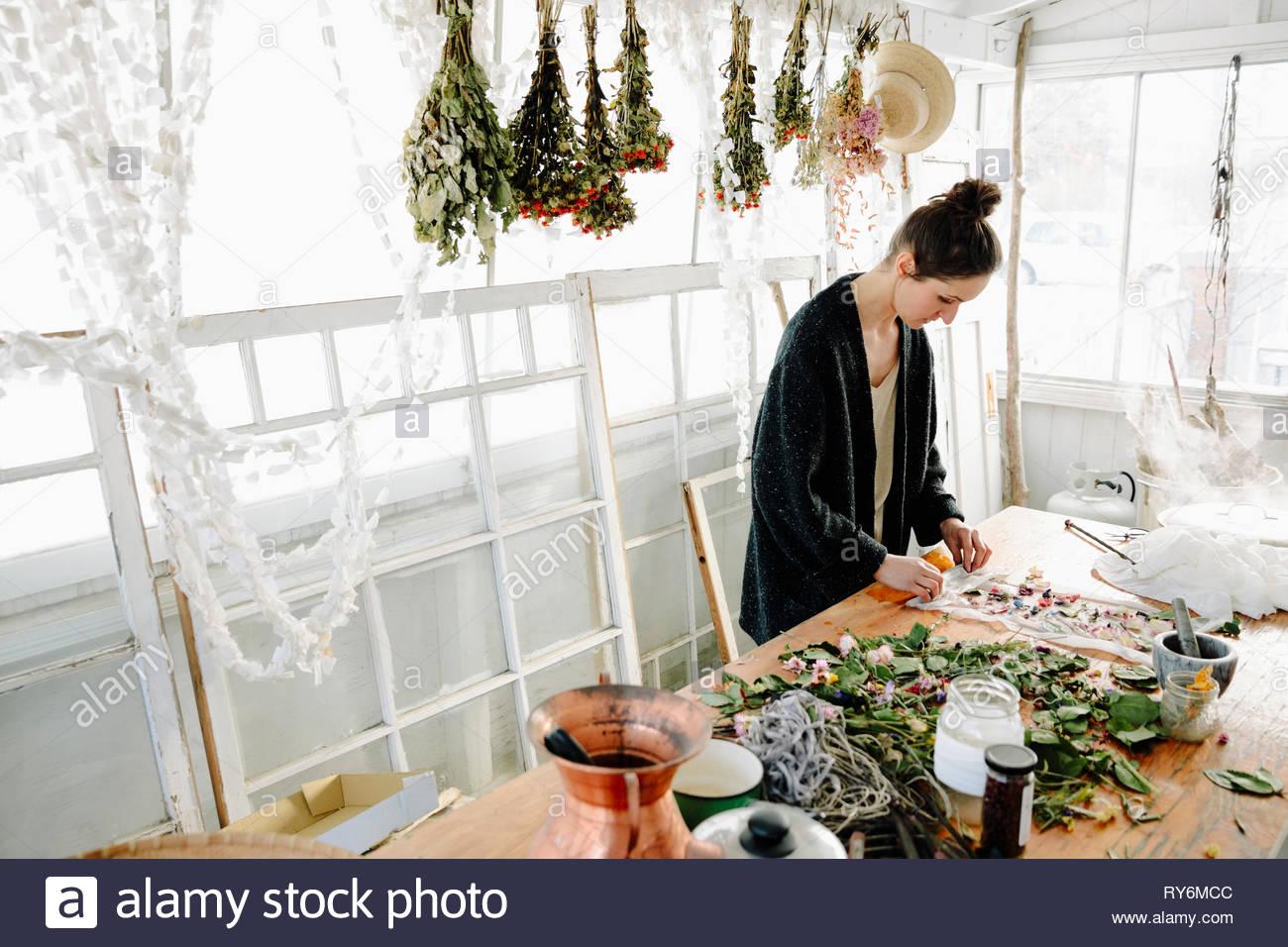 L'artiste féminine des fleurs séchées pour la fabrication du papier Photo Stock