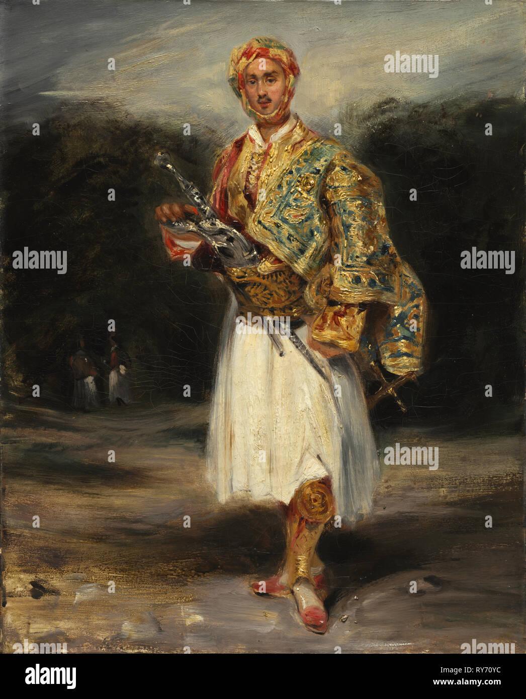 Count Demetrius Palatiano Suliot de en costume, non daté. Imitateur d'Eugène Delacroix (Français, 1798-1863). Huile sur toile, 40,7 x 33,2 sans cadre: 16 x 13 cm (1/16 po Banque D'Images