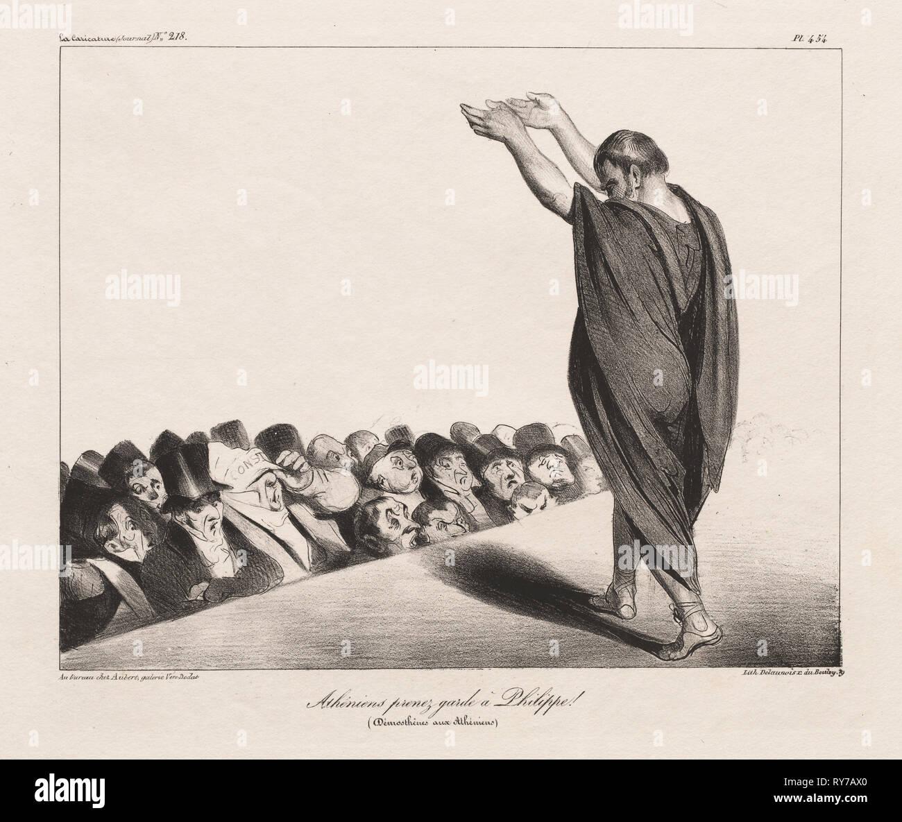 Publié dans la caricature, no. 218, 8 janvier 1935: La caricature, Pl. 454 Athéniens, méfiez-vous de Phillip! (Démosthène aux Athéniens,( La caricature, Pl. 454, Atheniens prenex garda un Phillippe! [Démosthène aux Atheniens]). Honoré Daumier (Français, 1808-1879), Aubert. Fiche technique: Lithographie; 26,2 x 33,6 cm (10 1/4 x 13 5/16 in.); image: 20,3 x 25,5 cm (8 x 10 1/16 po Banque D'Images