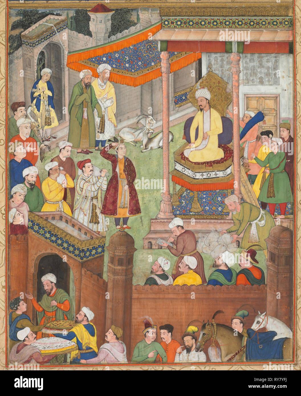 Babur et Humayun reçoit le salut de butin après la victoire sur le Sultan Ibrahim en 1526, d'un récit-nama (Livre d'Akbar) de Abu'l Fazl (Indiens, 1551-1602), ch. 1596-1597 ou 1604. L'Inde moghole, cour, faite pour l'empereur Akbar. Aquarelle sur papier opaque, monté sur une page d'album avec des bordures d'or, décorés en papier crème; page: 42 x 27,6 cm (16 9/16 x 10 7/8 po Photo Stock