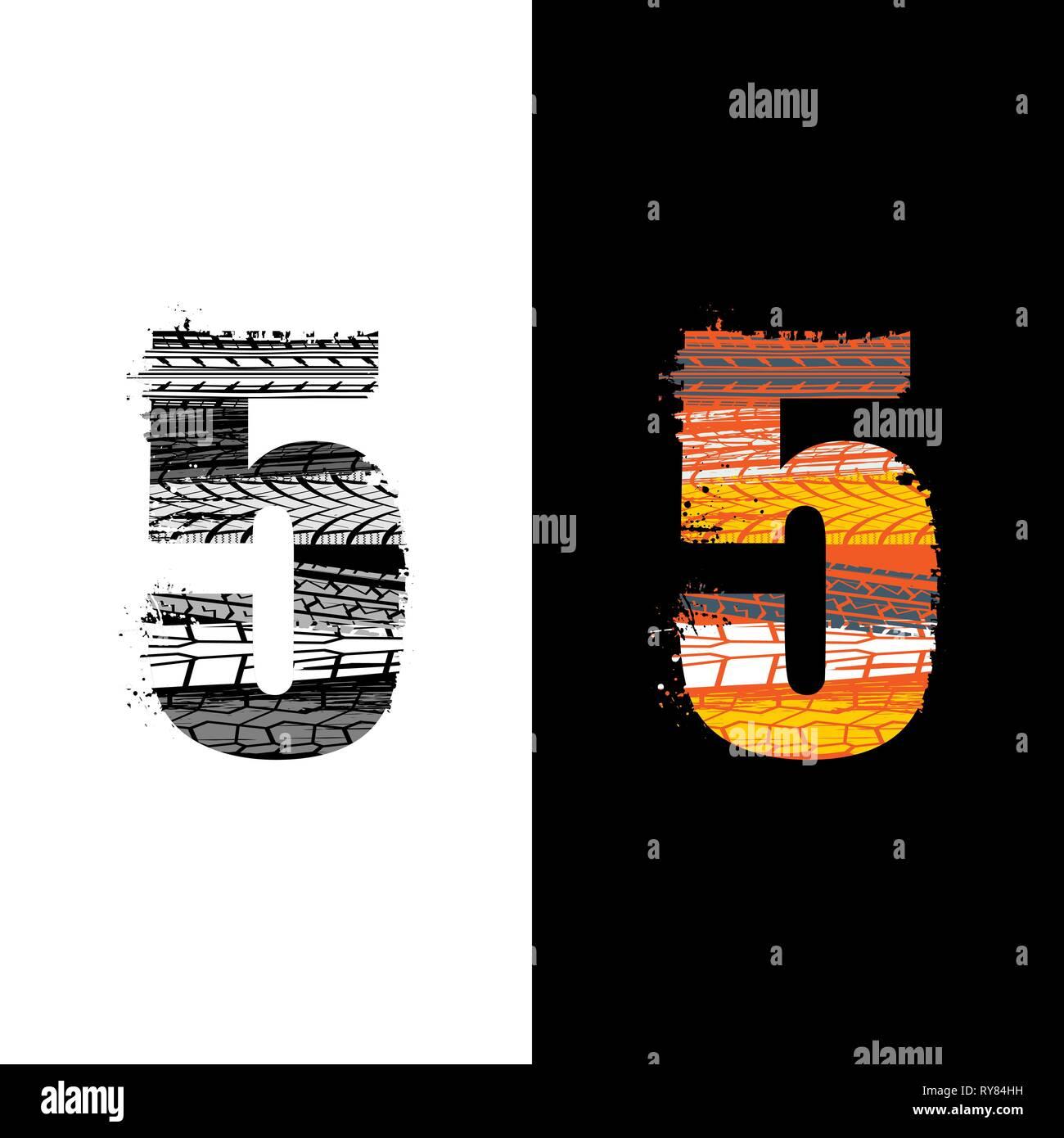 Deux groupes grunge numéro 5 avec traces de isolé sur fond differennt Photo Stock