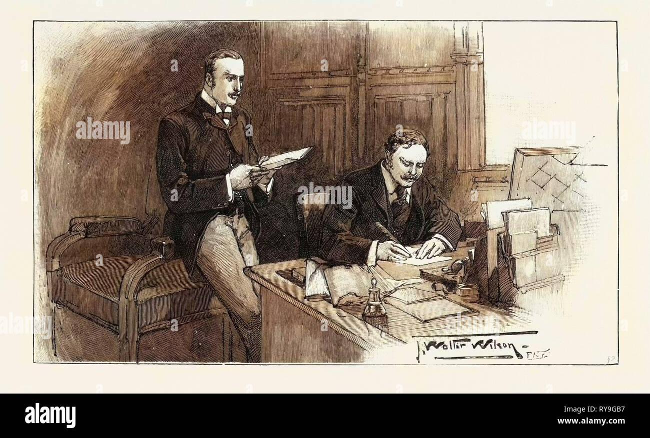 Une Division de la Chambre des communes: l'opposition fouets: Sir William Walrond et M. Akers-Douglas, UK, 1893 Gravure Photo Stock
