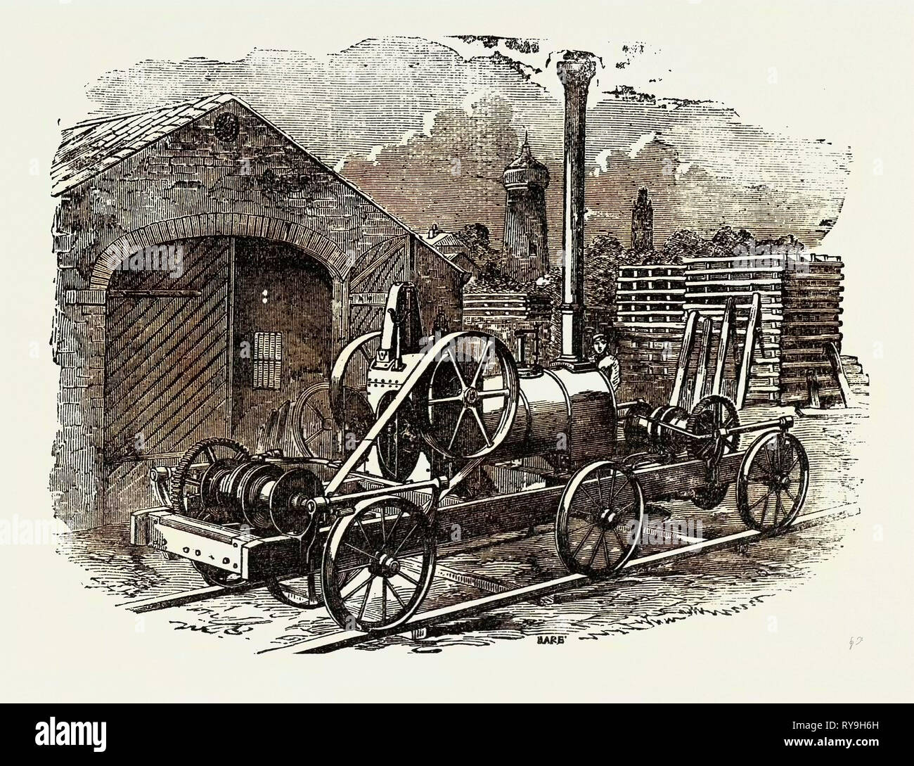 """Tuxford et Fils"""" Pile-Driving, moteur à vapeur avec deux achats à double effet pour le levage 4 béliers à la fois Photo Stock"""