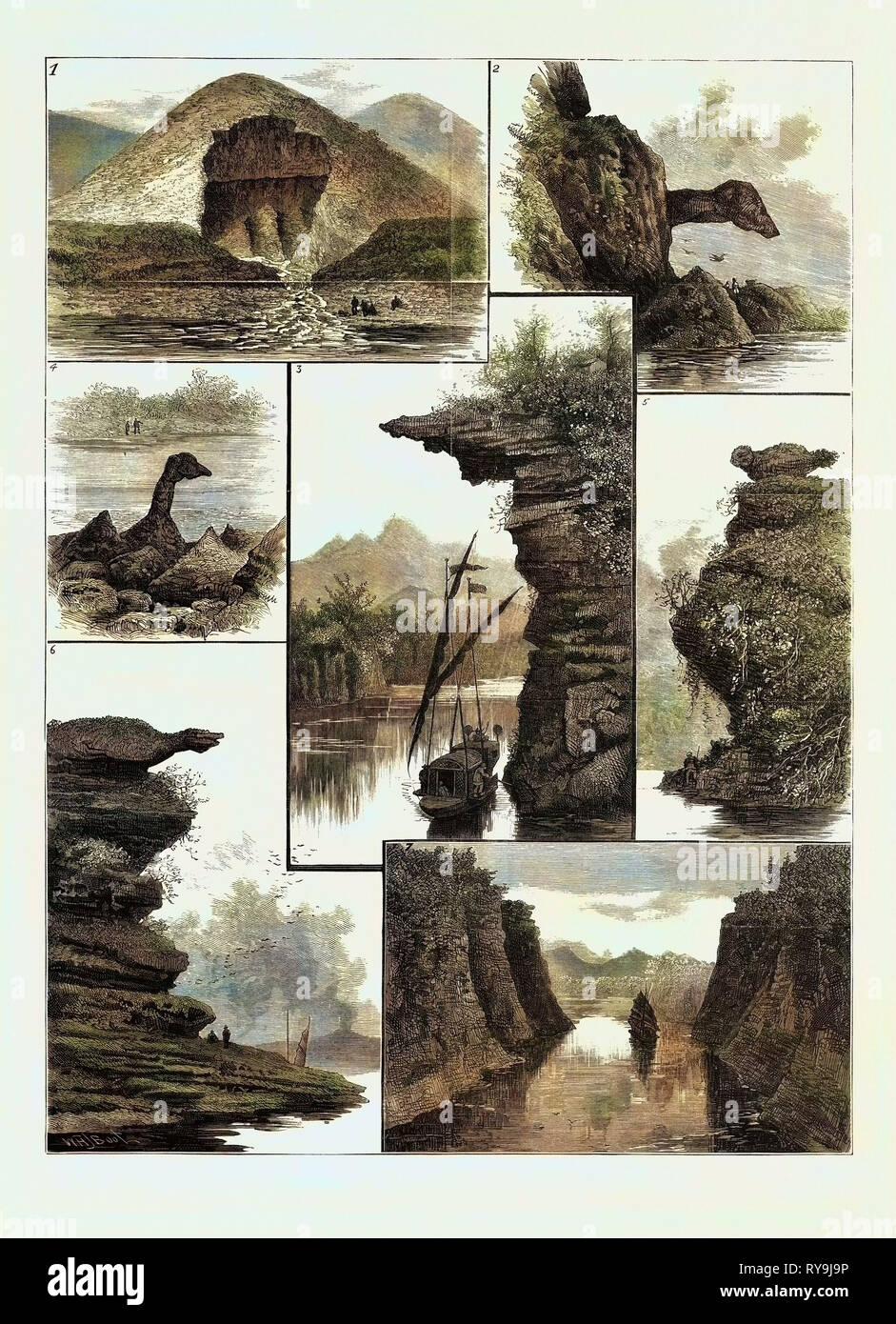 Le Colquhoun expédition à travers le sud de la Chine, des scènes sur la rivière Canton: 1. Un rocher près de Nan-Ning sapée par un ruisseau, 2. Nez du chien Rock, 3. Passant sous une falaise, 4. Swan-Neck Rock dans la gorge des cygnes 9, 5. Demon Dog Rock, 6. Point de crocodile, 7. Voir les gorges rocheuses menant à Ha-Ngan Banque D'Images