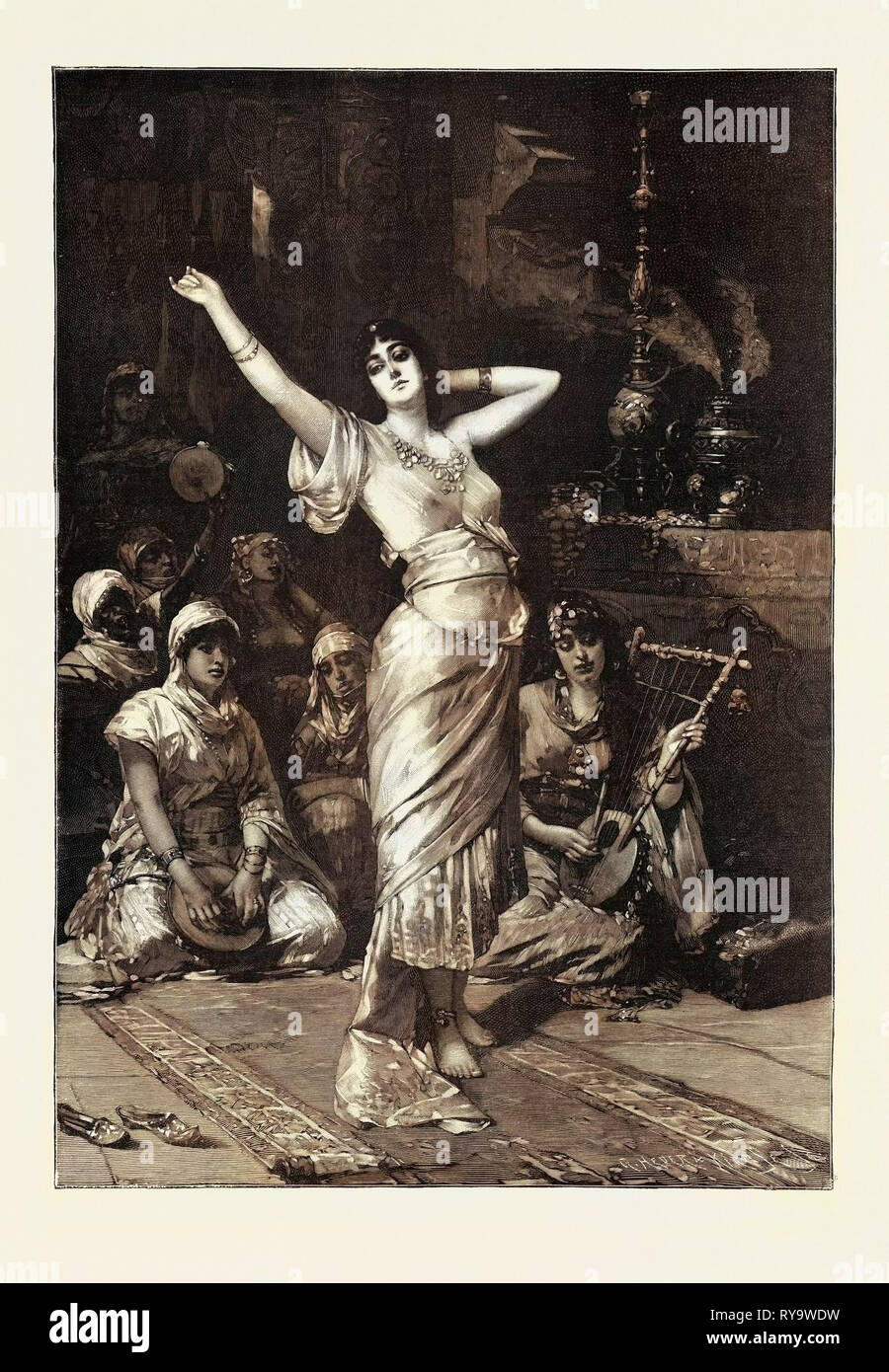 Dans le sérail, 1893 Gravure. Nathaniel Sichel, de Berlin, diplômé de l'Académie de Berlin et l'Académie de Paris. Il est né à Mayence, et a d'abord un lithographe. C'est un portraitiste favori en Allemagne Photo Stock