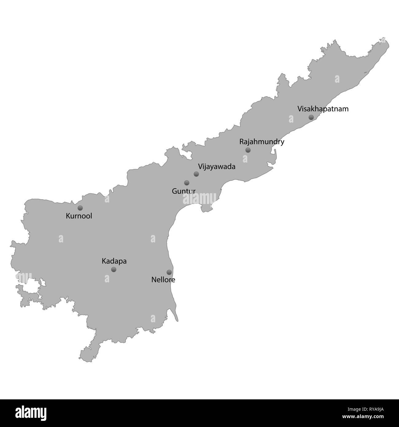 Carte de haute qualité de l'Andhra Pradesh est un état de l'Inde, avec l'emplacement des villes principales Photo Stock