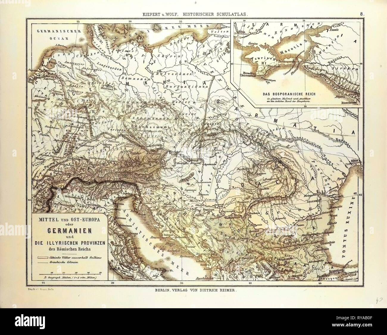 La carte de l'Europe centrale et orientale au cours de l'Empire romain Photo Stock