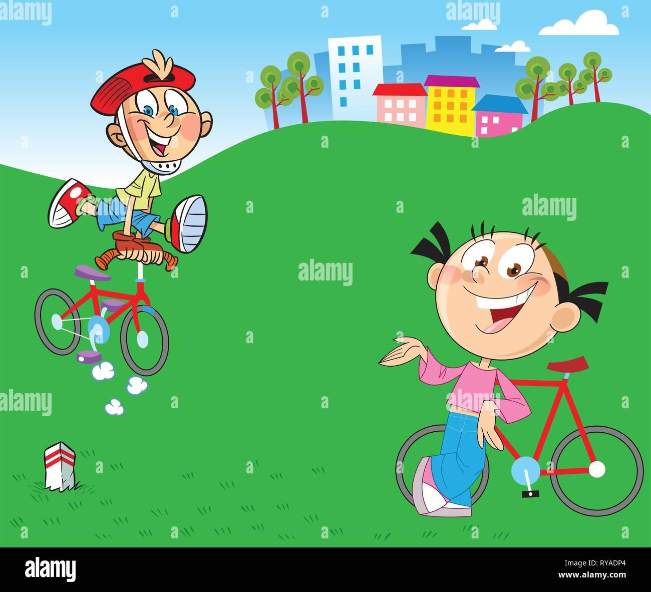 Garcon Et Fille Rendez Vous Pour Une Promenade A Bicyclette Dans La Campagne Image Vectorielle Stock Alamy