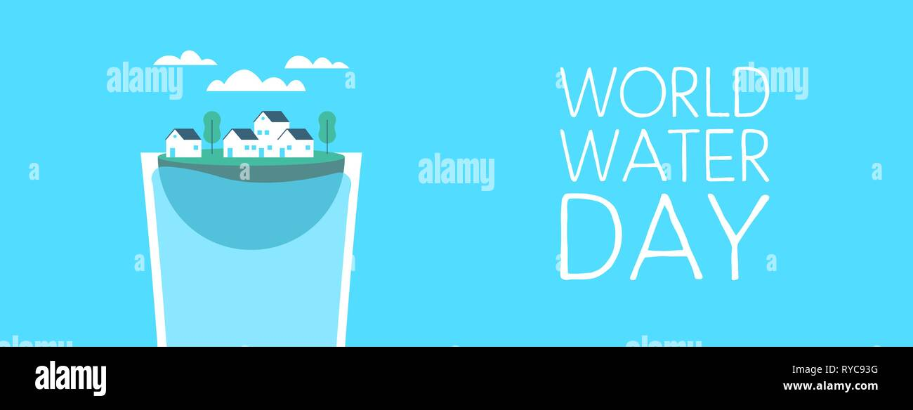 Journée mondiale de l'illustration de bannières web pour le changement climatique et de l'environnement concept care. Petite ville à l'intérieur flottant verre à boire. Photo Stock