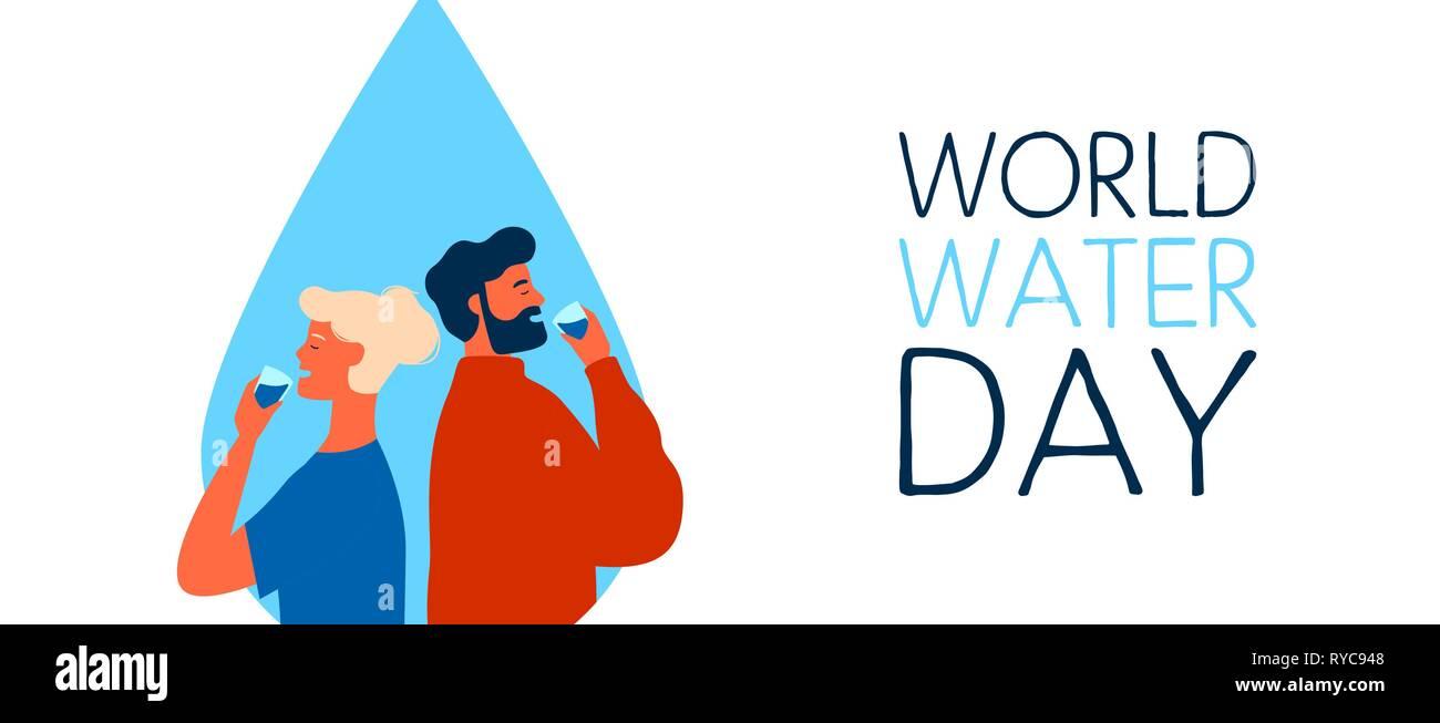 La Journée mondiale de l'eau bannière web illustration de l'homme et de la femme de boire. Boire de l'eau concept pour l'environnement Sensibilisation des soins. Photo Stock