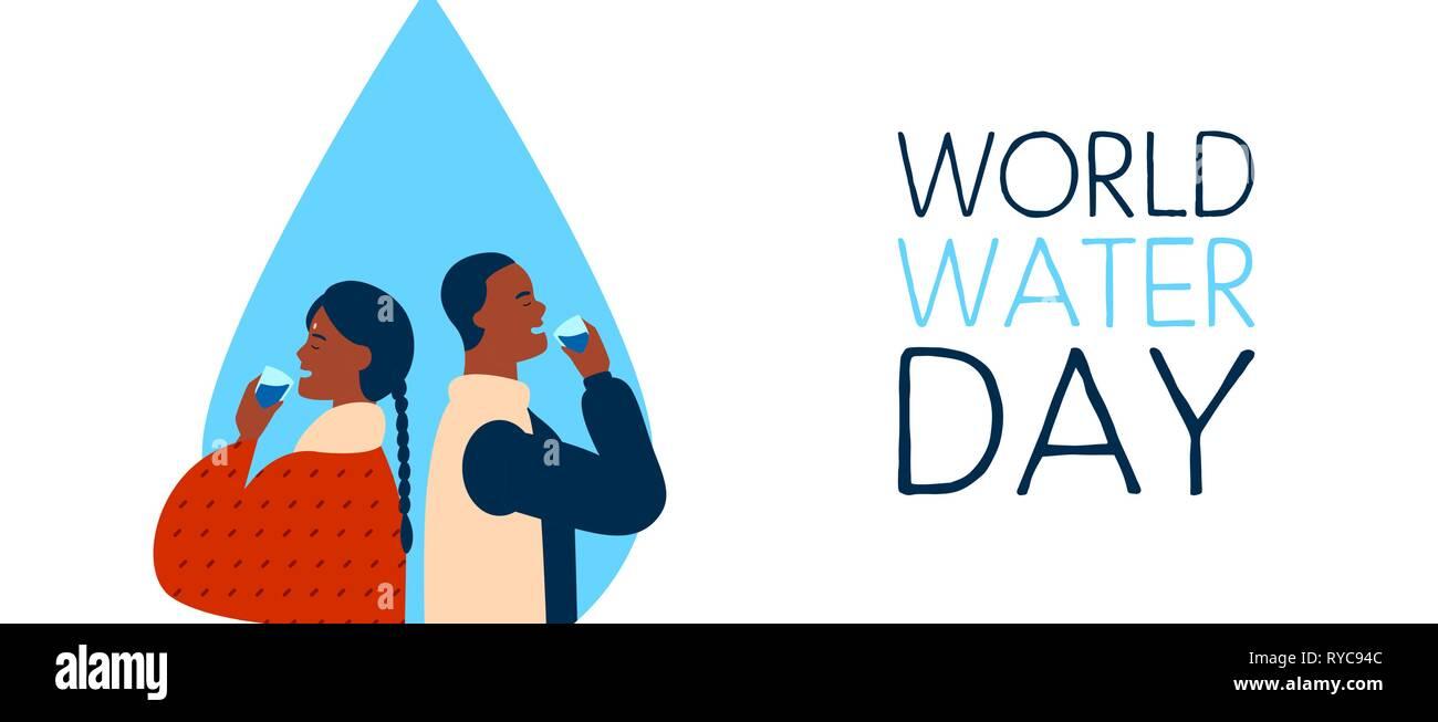 La Journée mondiale de l'eau Les bandeaux web illustration de l'homme noir et femme indienne couple drinking. Boire de l'eau concept pour l'environnement global de la terre ca Photo Stock