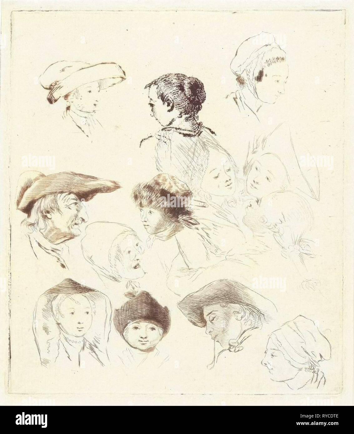 Feuille d'étude avec treize chefs, imprimer bouilloire: Louis Bernard Coclers, 1756 - 1817 Photo Stock