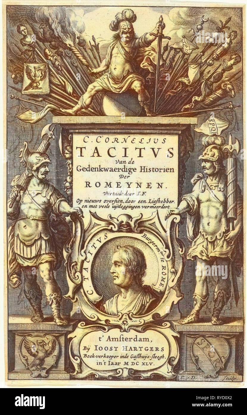 Dieu intronisé sur Mars avec la colonne de butin de guerre et portrait de tacite en cartouche flanqué de deux soldats romains, Cornelis Van Dalen (I), Joost Hartgers, 1645 Photo Stock