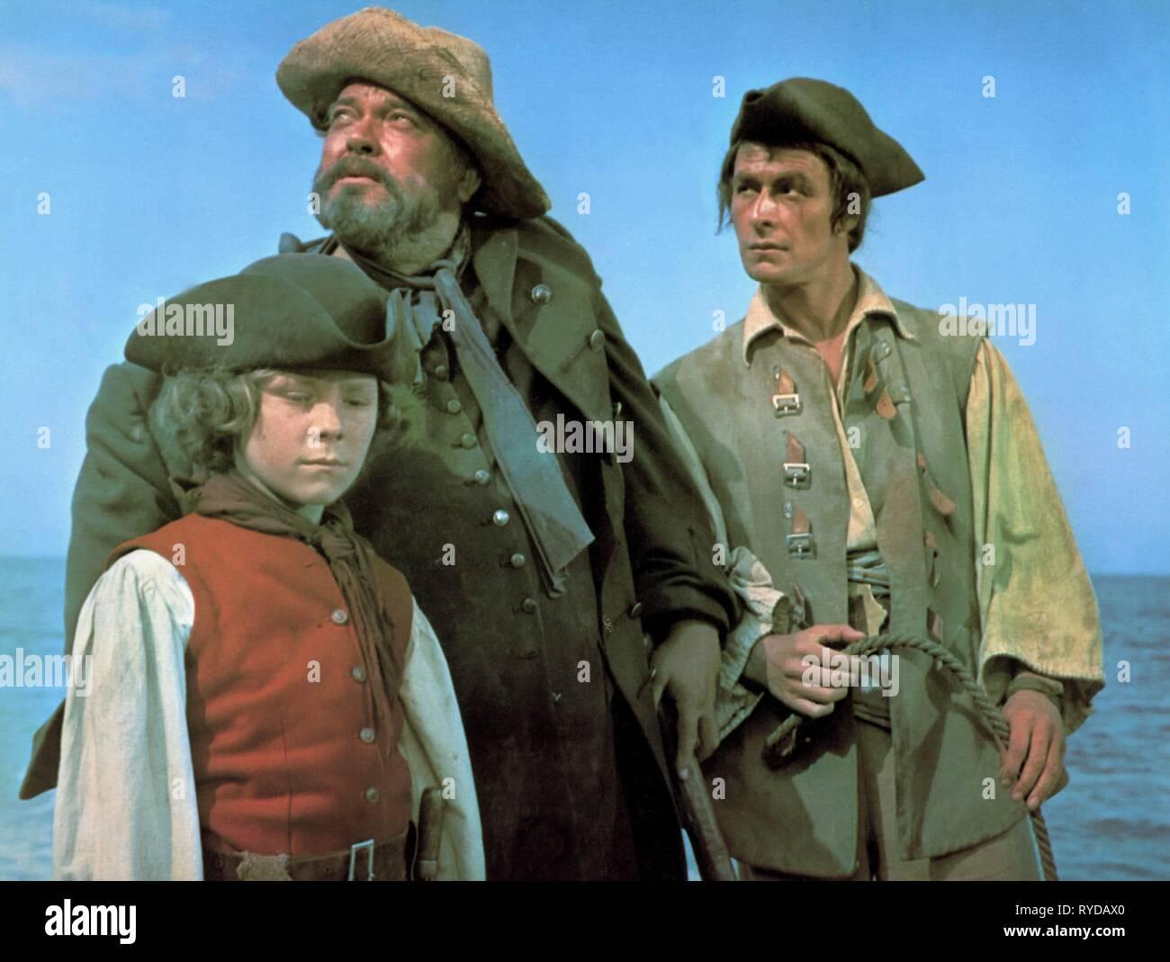 KIM BURFIELD, ORSON WELLES, JEAN LEFEBVRE, l'île au trésor, 1972 Banque D'Images