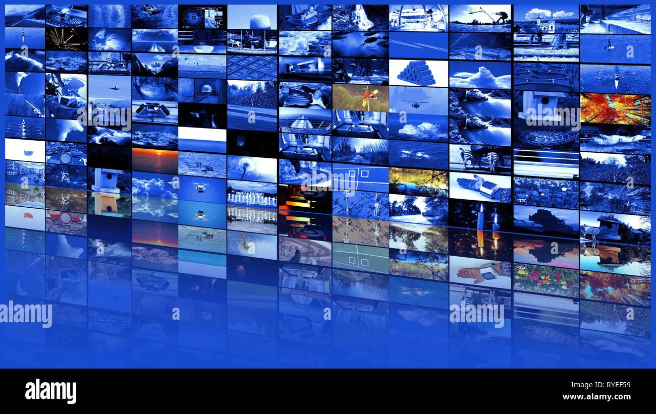 Grand mur vidéo multimédia Web TV grand écran multimédia en continu Banque D'Images