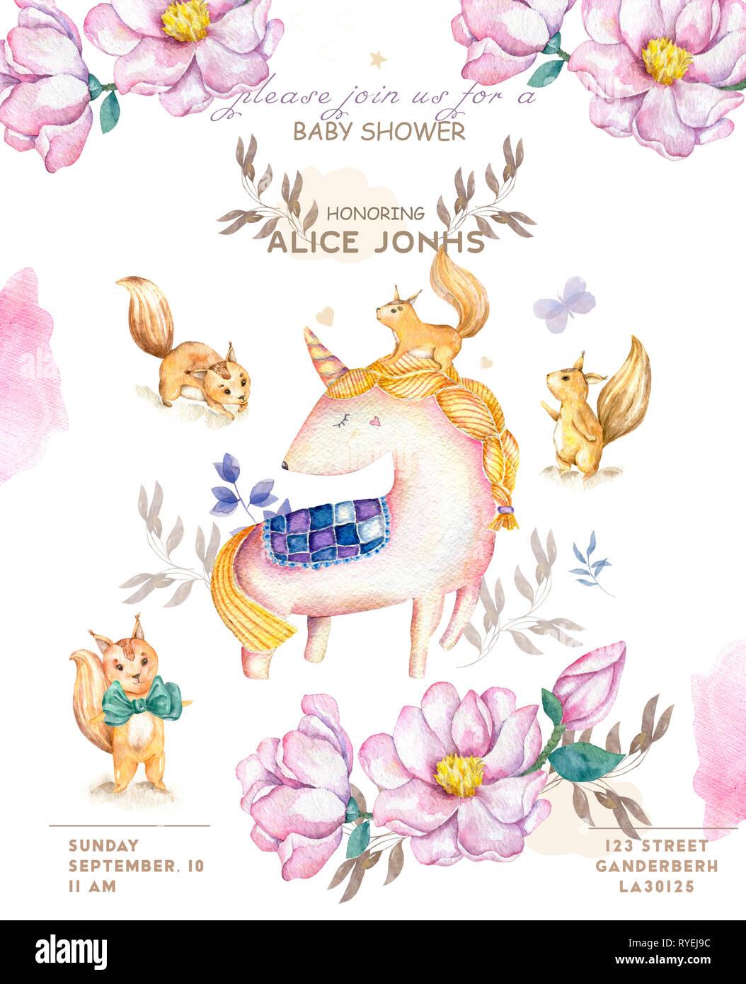 Isolé à l'Aquarelle Aquarelle mignon sqirrel unicorn et clipart. Les licornes pépinière illustration. Les licornes princesse poster. Rose à la mode cartoon cheval. B Photo Stock