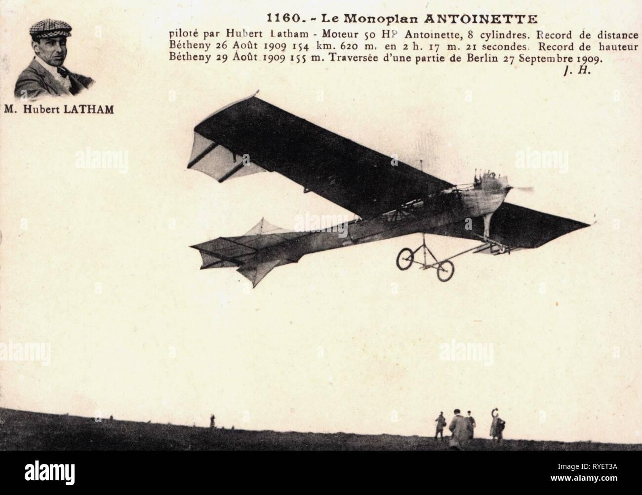 Transport / Transports, aviation, avion de sport, Antoinette VI, design: Leon Levavasseur, 1909, avec portrait de pilot Hubert Latham, photo carte postale, France, 1910, Additional-Rights Clearance-Info-Not-Available- Banque D'Images