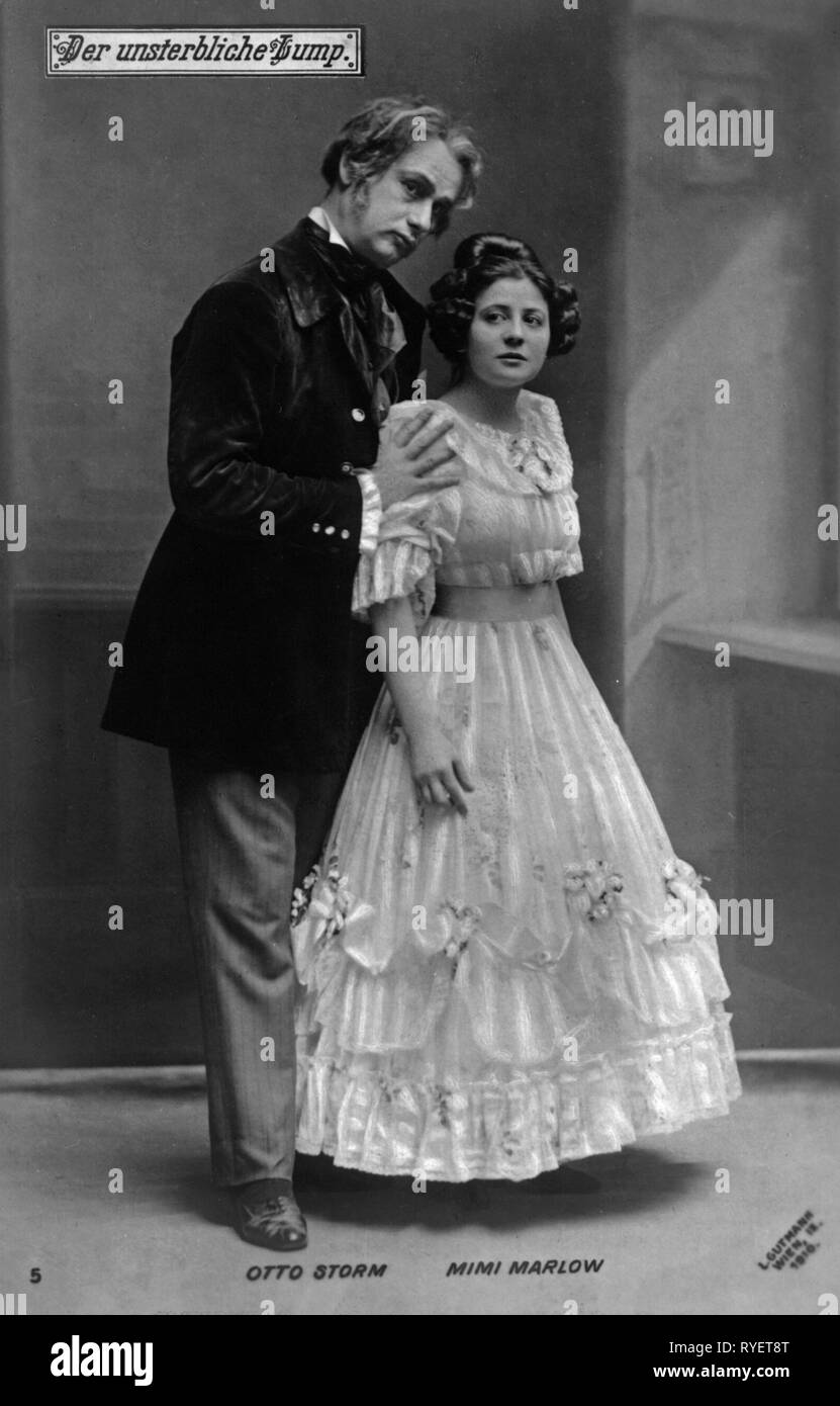 Theatre / Théâtre, début du siècle, Otto Tempête, Mimi Marlow, dans 'Der unsterbliche Montant' (l'Undying bactérien), d'Edmund Eysler, photo carte postale, Vienne, 1910, Additional-Rights Clearance-Info-Not-Available- Photo Stock