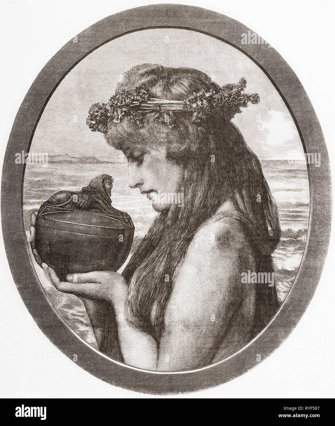 Pandora. Dans la mythologie grecque Pandora a ouvert un pot libérant ainsi tous les maux de l'humanité. À partir de la Ilustracion Artistica, publié 1887. Photo Stock