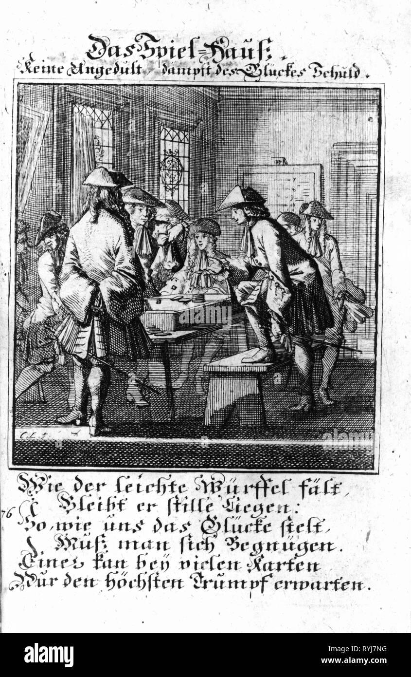 Jeu, casino, maison de jeux de hasard, gravure sur cuivre à partir des classes d'adresses par Christoph Weigel, 1698, avec le verset par Abraham a Santa Clara, Additional-Rights Clearance-Info-Not-Available- Banque D'Images