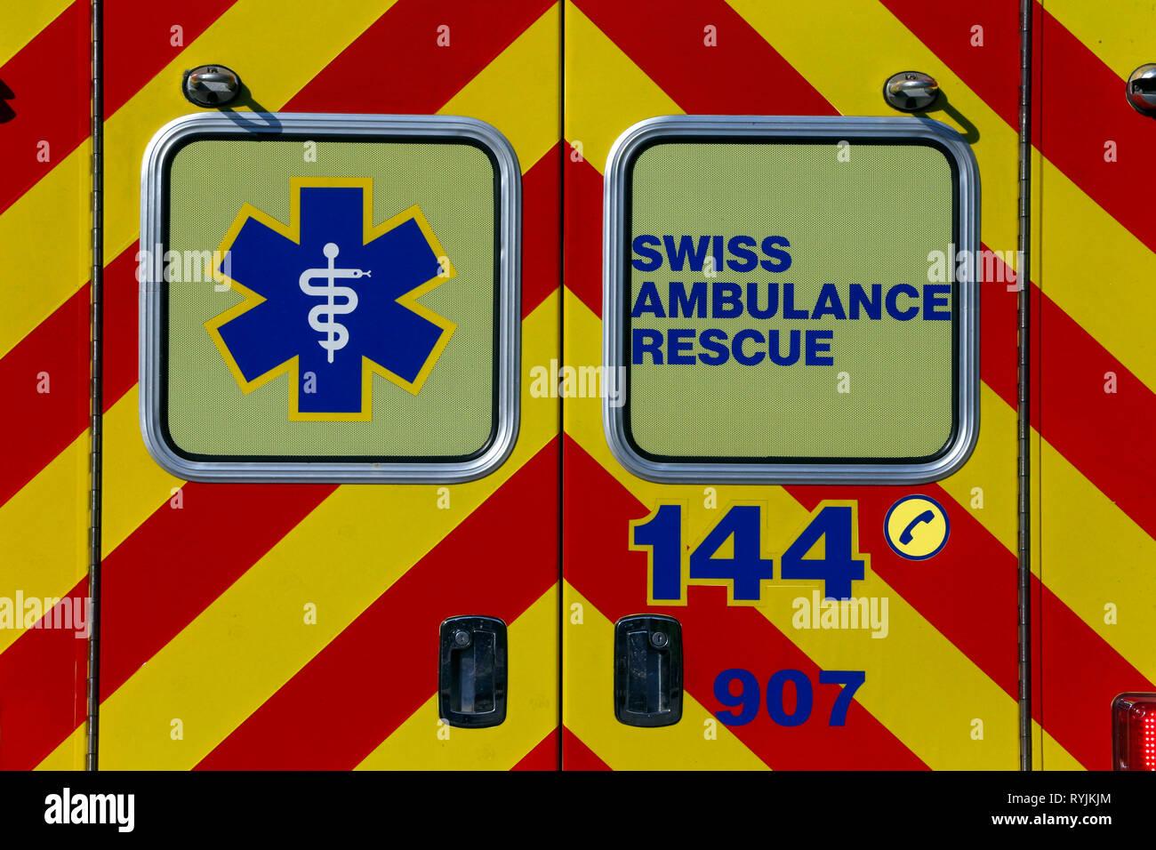 Ambulance suisse de sauvetage. Genève. La Suisse. Banque D'Images