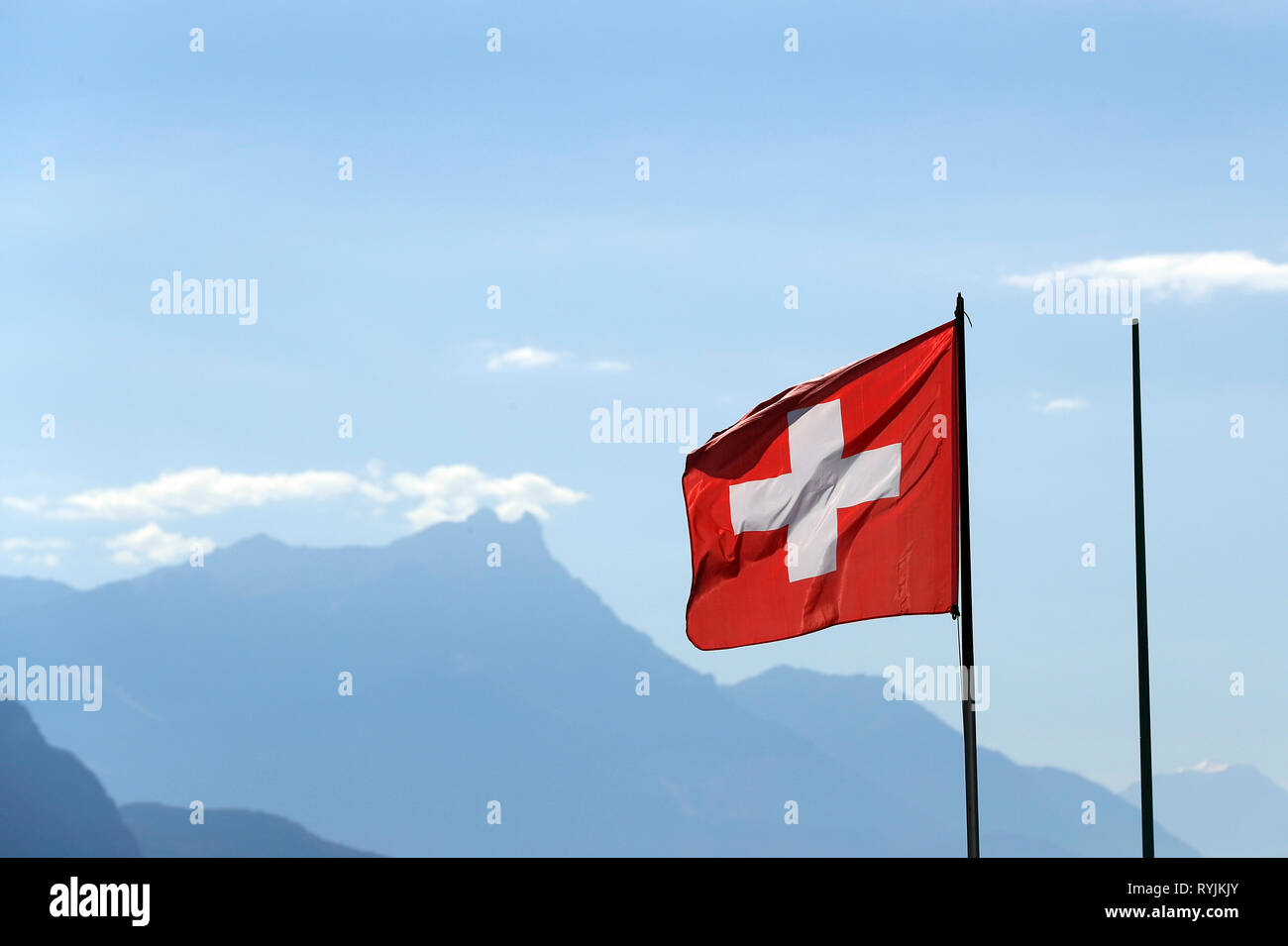 Drapeau suisse. Vevey. La Suisse. Photo Stock