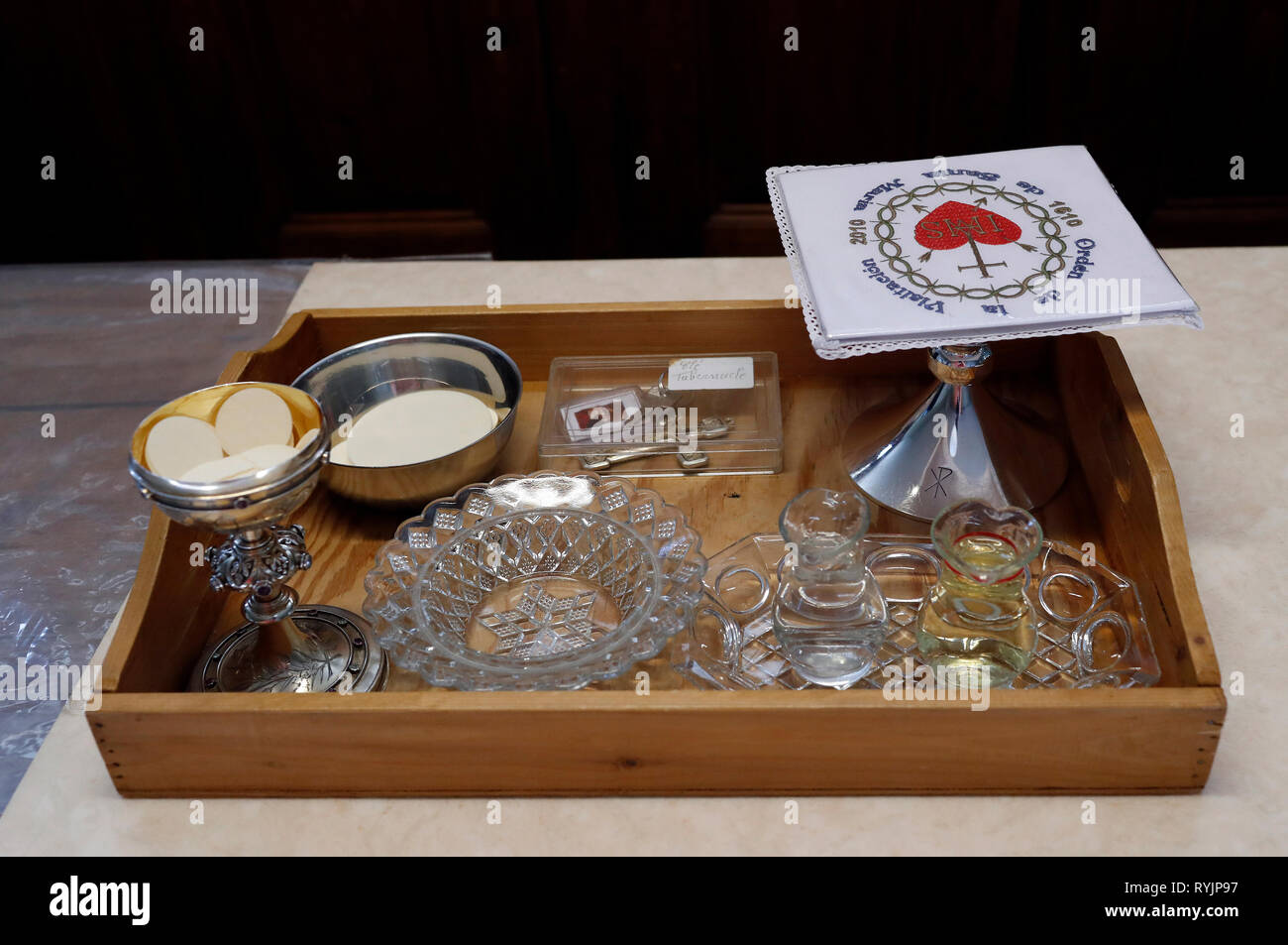 Monastère de la Visitation. Sainte eucharistie préparation en sacristie. Thonon-les-Bains. La France. Photo Stock