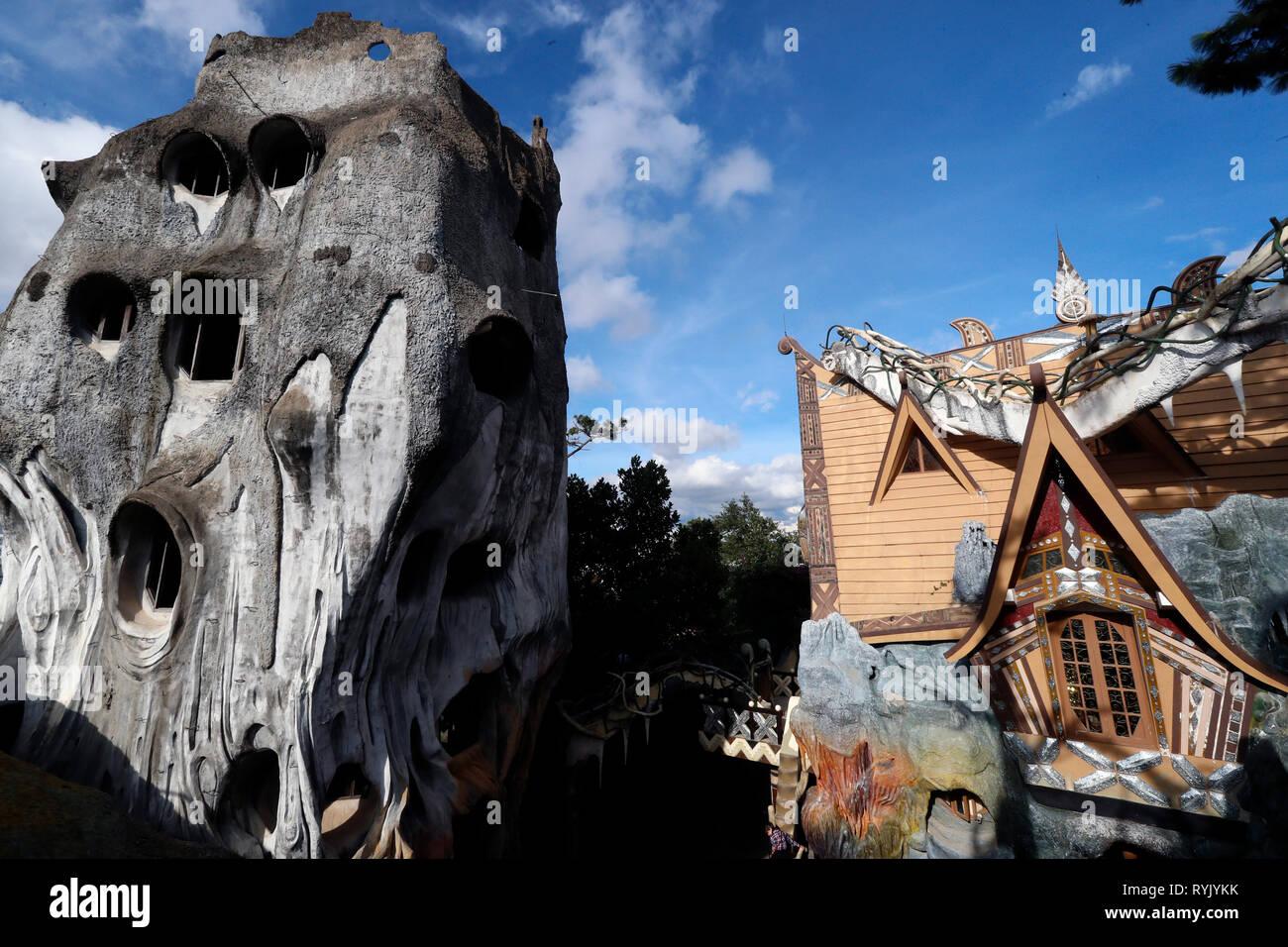 Bizarre construction de la crazy House Hotel, Hang Nga Guesthouse. Dalat. Le Vietnam. Photo Stock