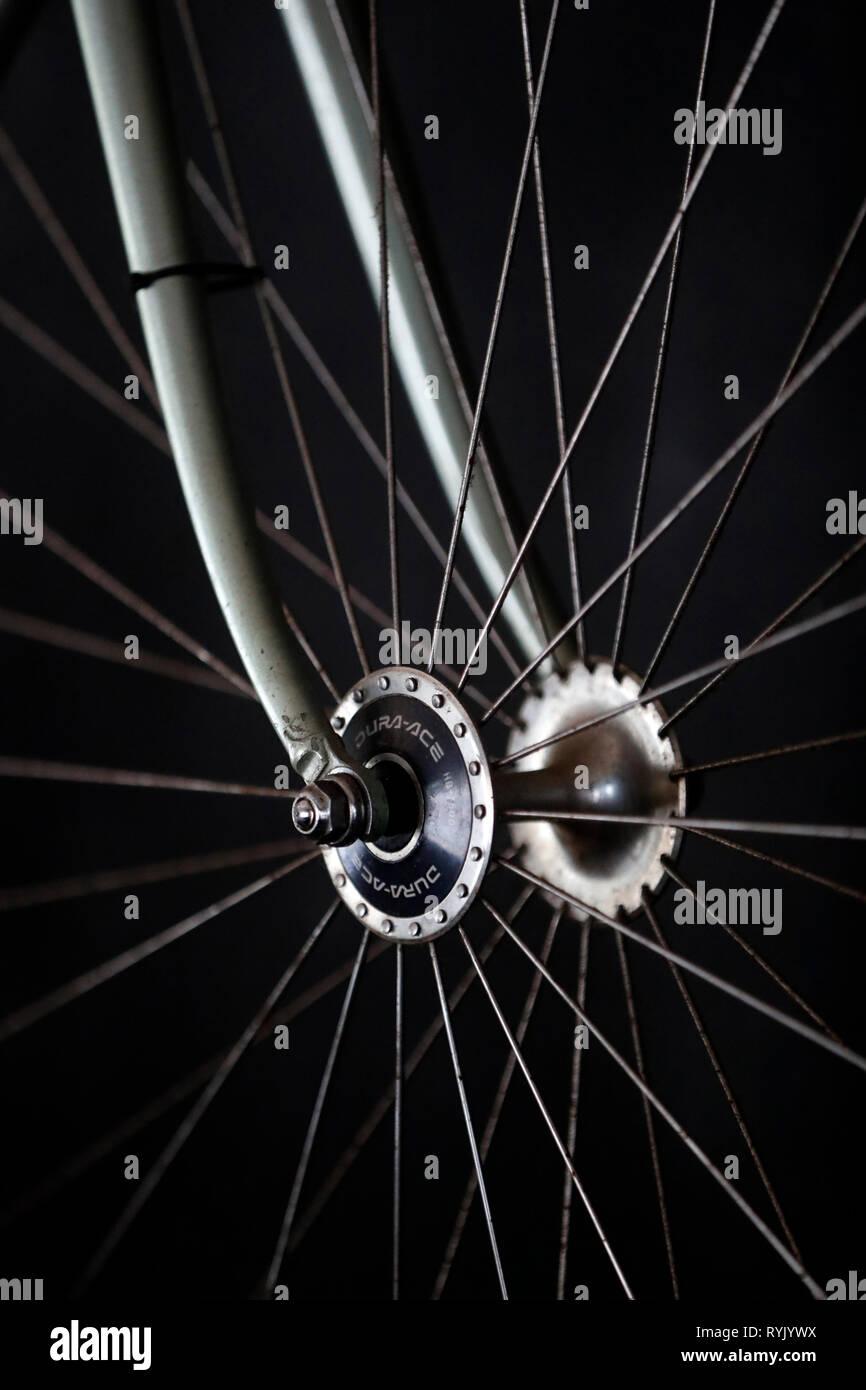 Roue de vélo. Close-up. Notre annuaire d'entreprises. Le Vietnam. Photo Stock