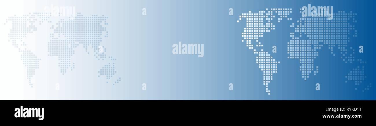Vector abstract background blue world avec des points, global business concept. En-tête et le banner Illustration de Vecteur
