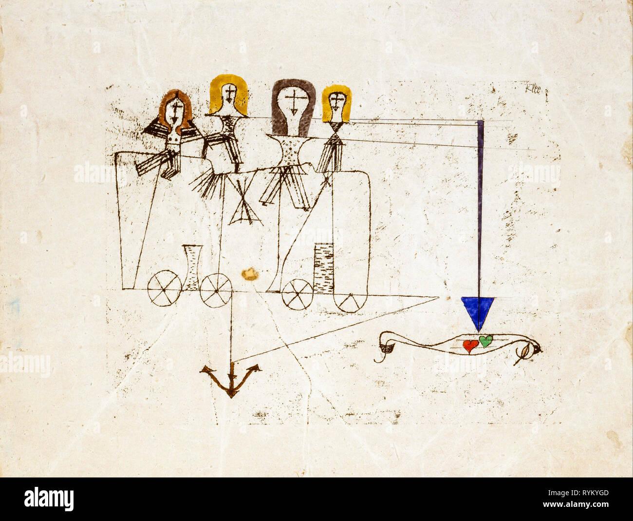L'art abstrait, la vertu Wagon (à la mémoire du 5 octobre 1922), Paul Klee, peinture, 1922 Banque D'Images