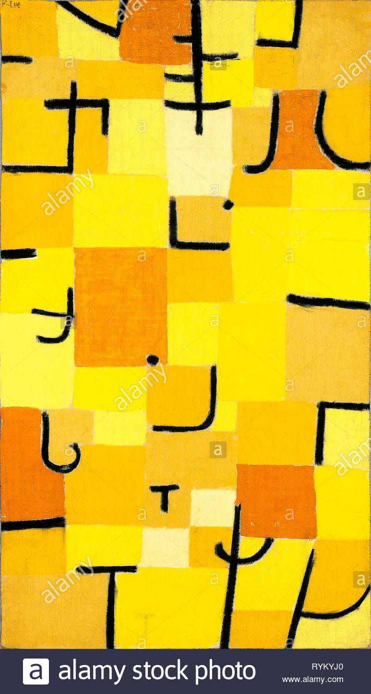 L'art abstrait, les signes en jaune, Paul Klee, peinture, 1937 Photo Stock