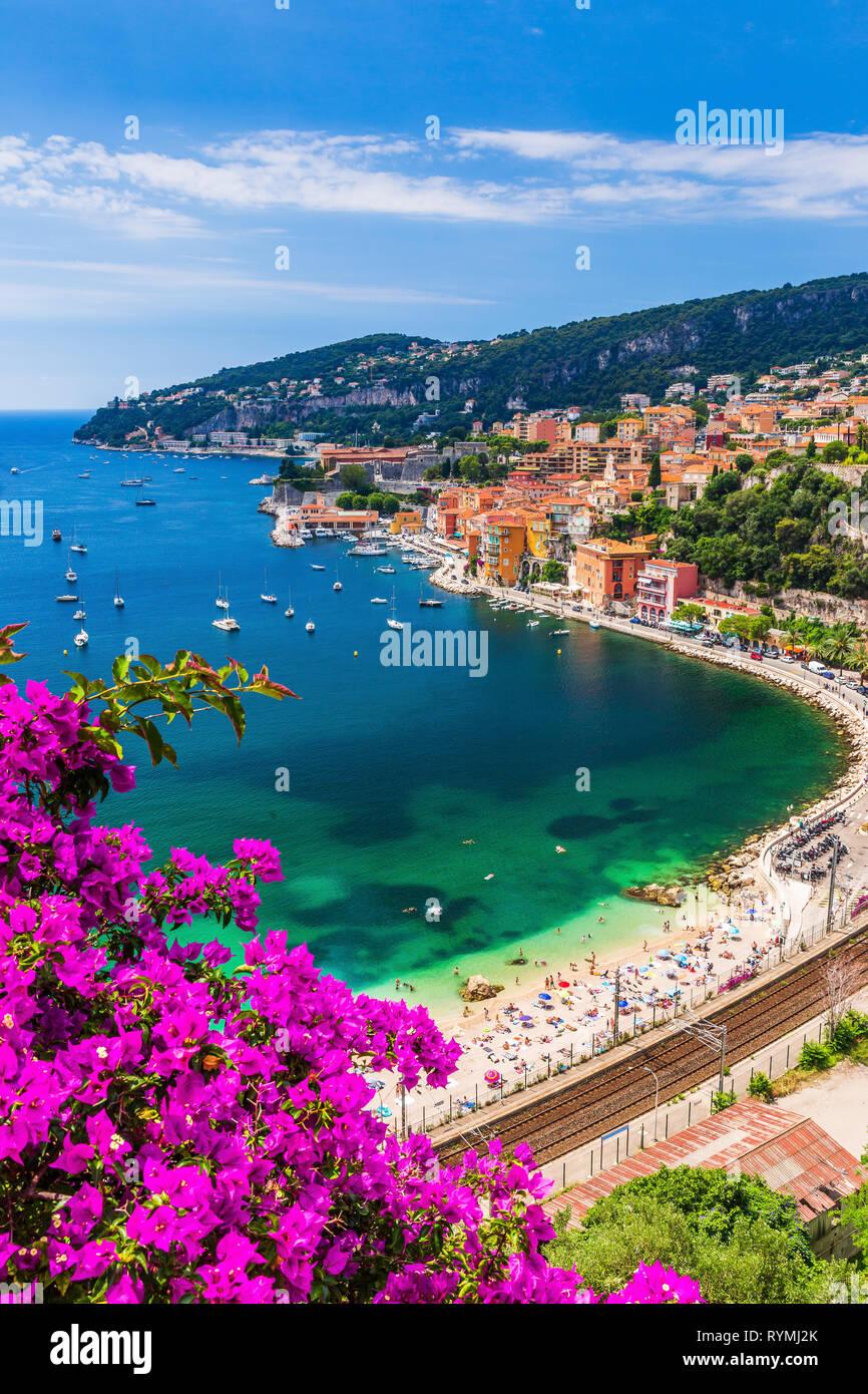 Villefranche sur Mer, France. Ville balnéaire sur la côte d'Azur (ou de la Côte d'Azur). Photo Stock