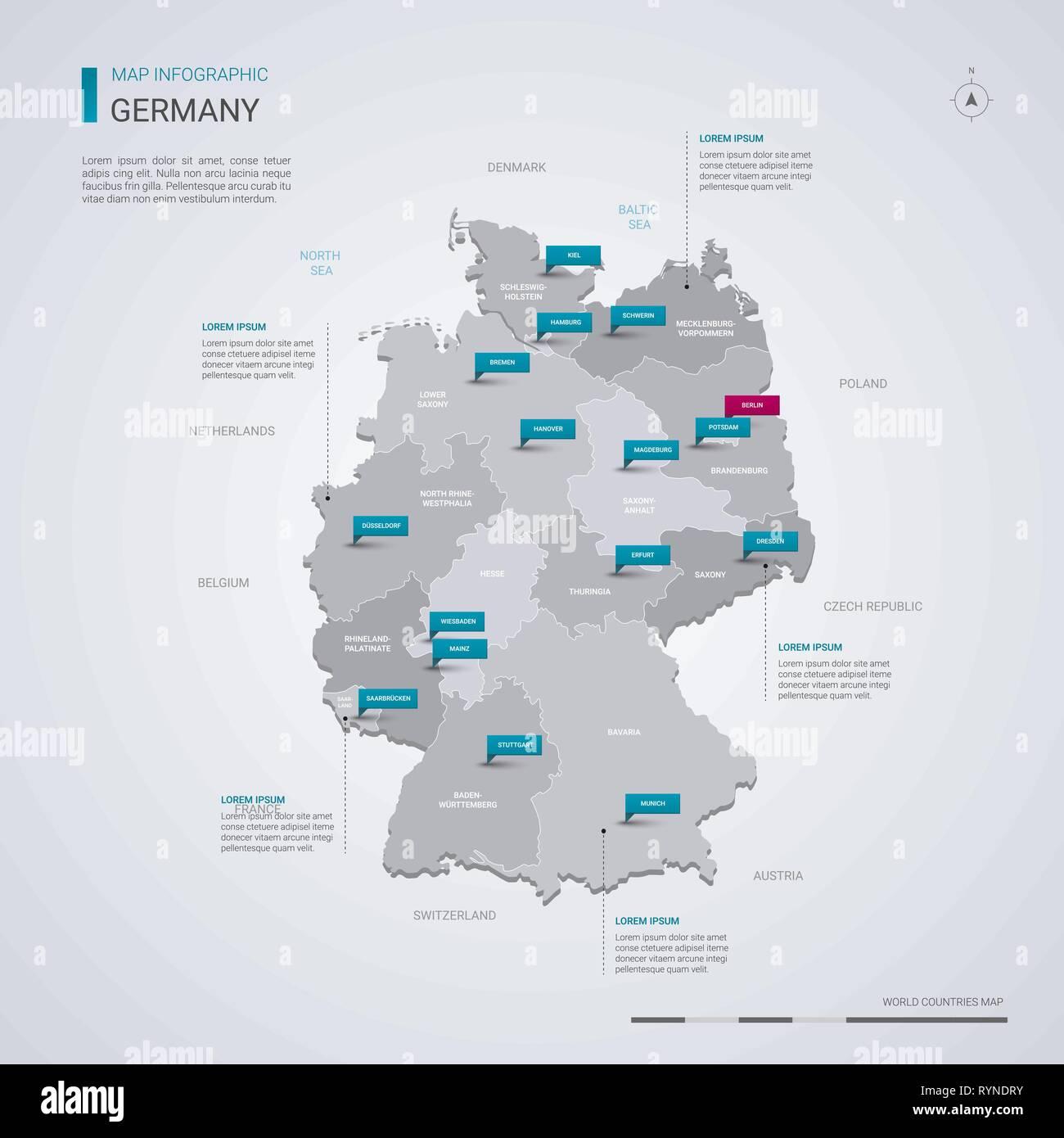 Allemagne Carte Vectorielle Avec Elements Infographique Pointeur Marques Modele Modifiable Avec Les Regions Les Villes Et Capitale Berlin Image Vectorielle Stock Alamy