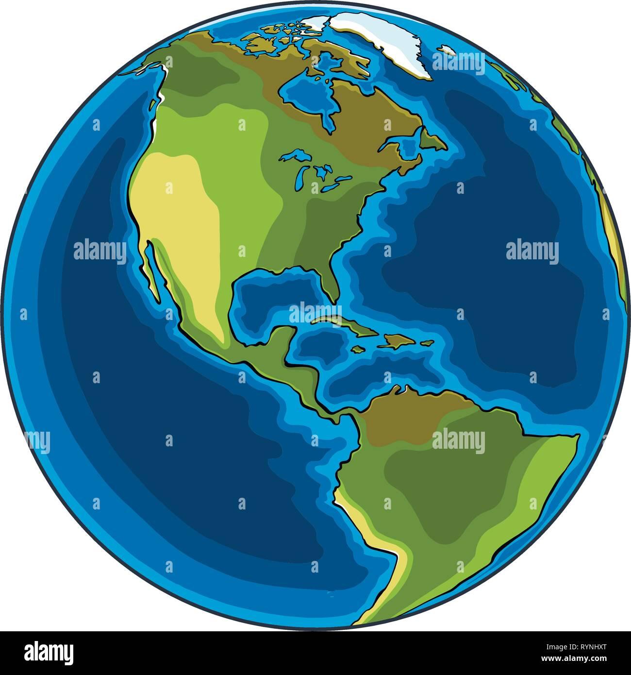 Croquis dessinés à la main, de la planète Terre en couleur ...