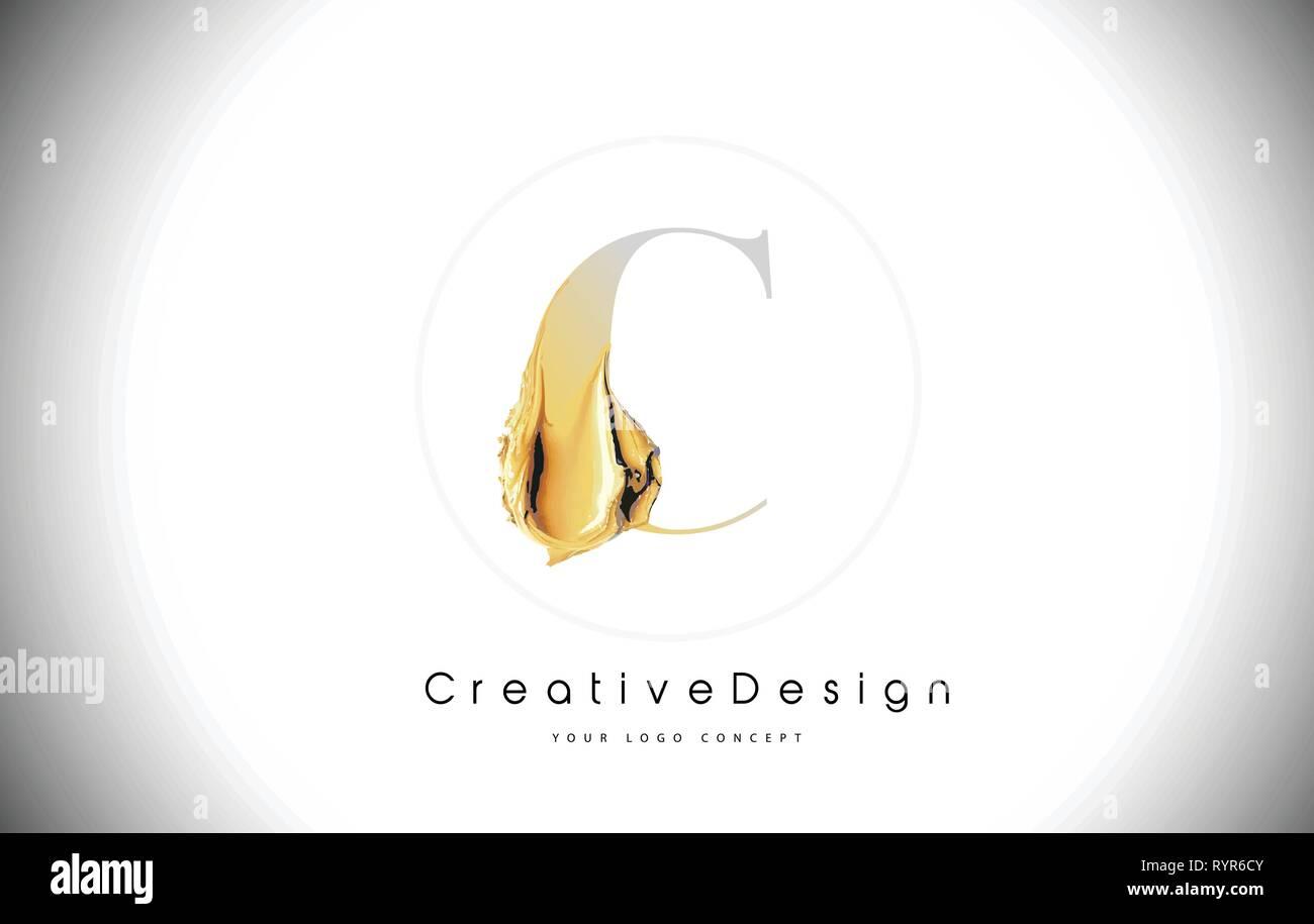 C Golden Lettre Trait De Peinture Brosse Design Jaune D Or