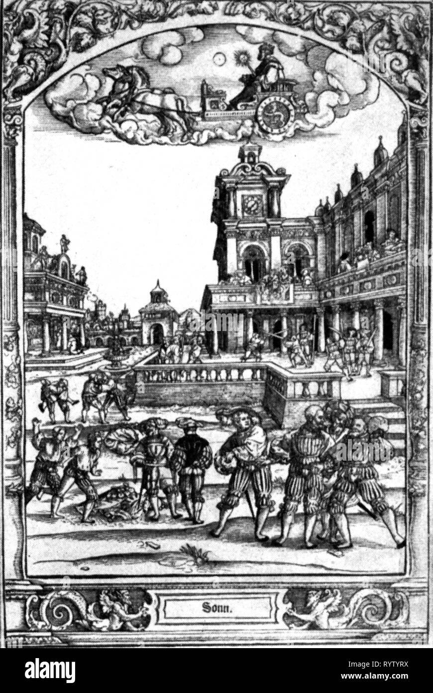 L'astronomie, allégories, sun, sun dieu dans le char au-dessus de la cour intérieure avec guerrier pendant un entraînement aux armes, gravure sur cuivre, par Hans Sebald Beham (1500 - 1550), 1530 - 1540, l'artiste n'a pas d'auteur pour être effacé Photo Stock