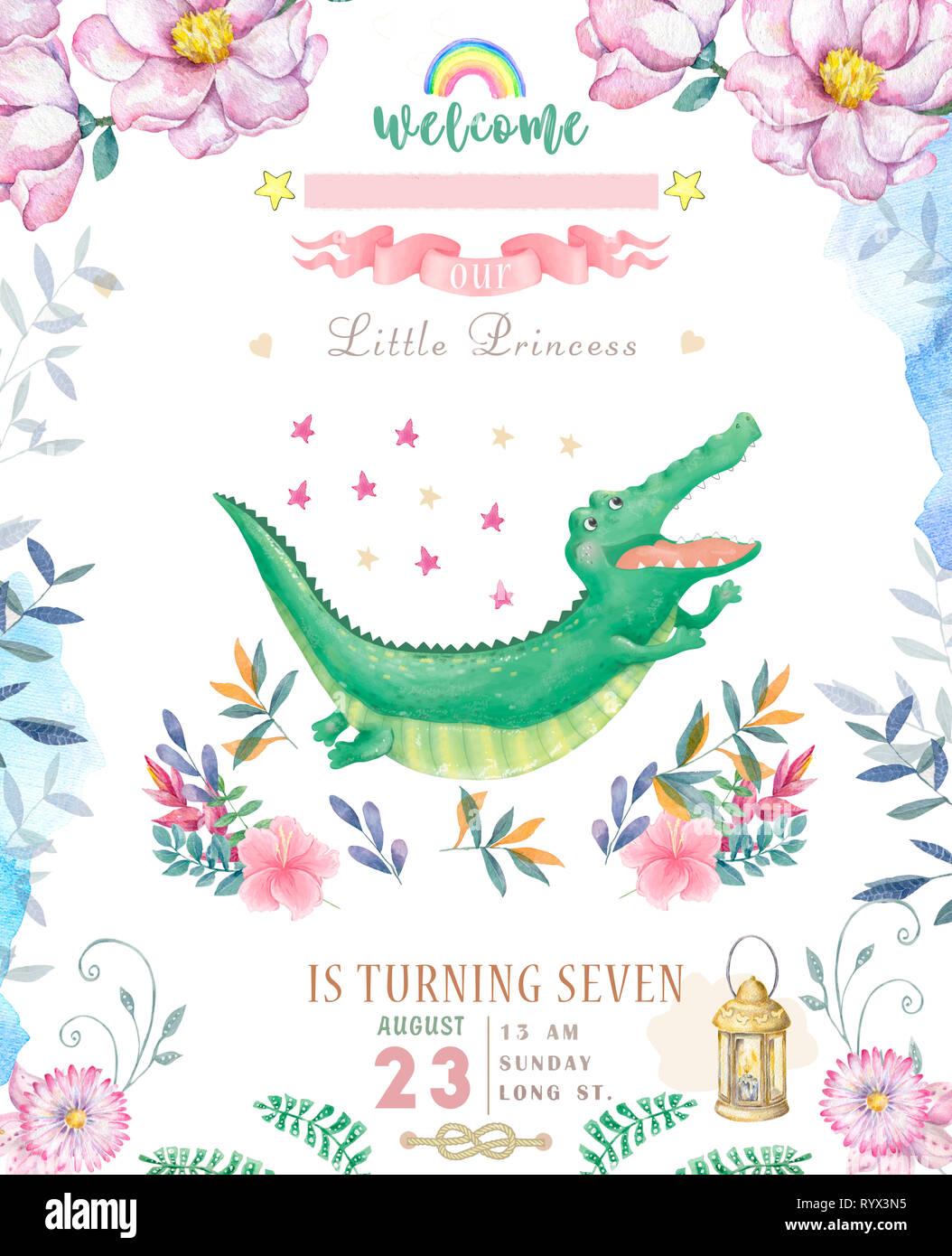 Joyeux Anniversaire Carte Avec Croc Mignon Dandy Aquarelle Animal