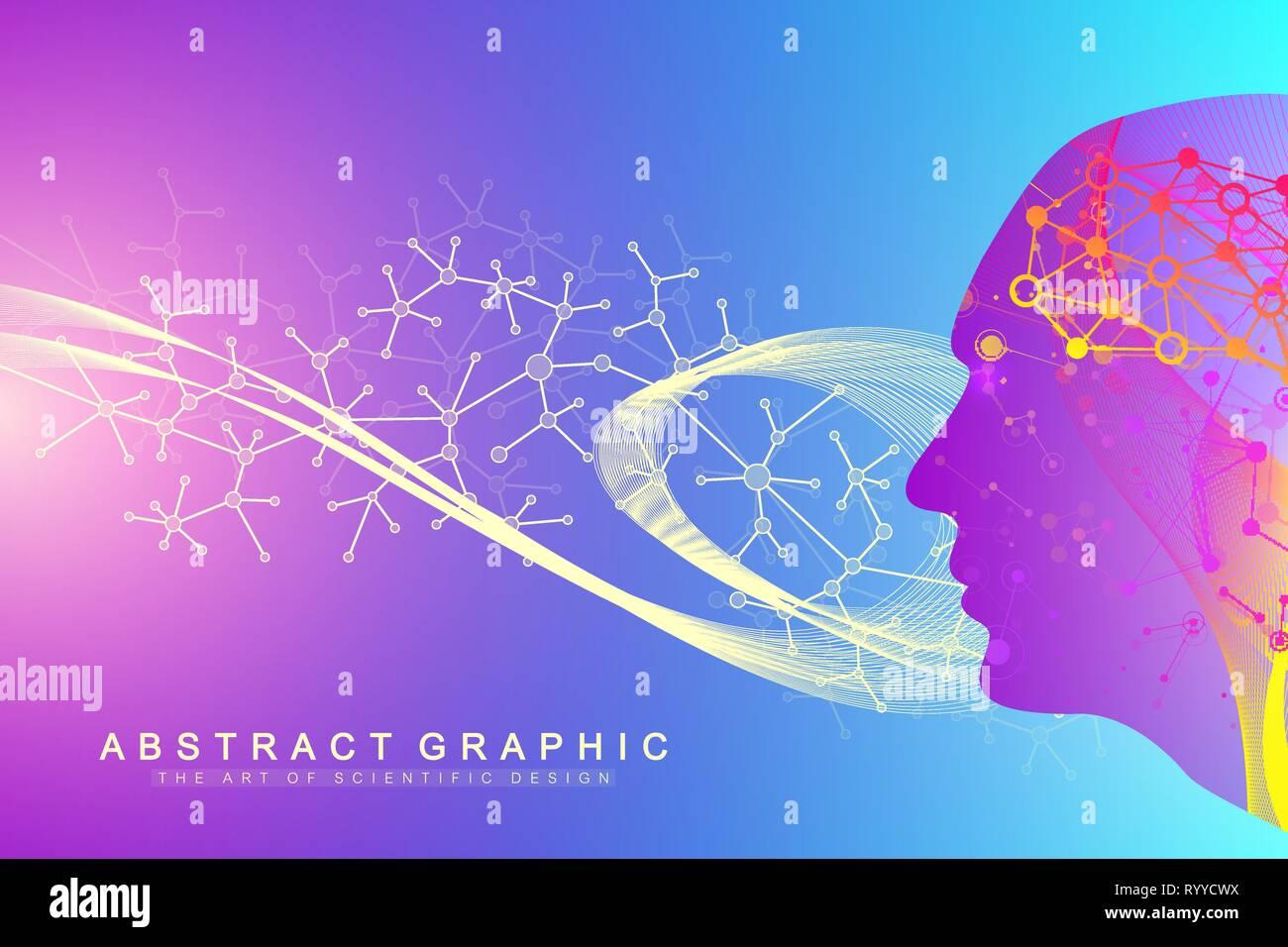 Vector illustration scientifique le génie génétique et la manipulation des gènes concept. L'hélice de l'ADN, ADN, molécule ou atome, les neurones. Structure abstraite Illustration de Vecteur