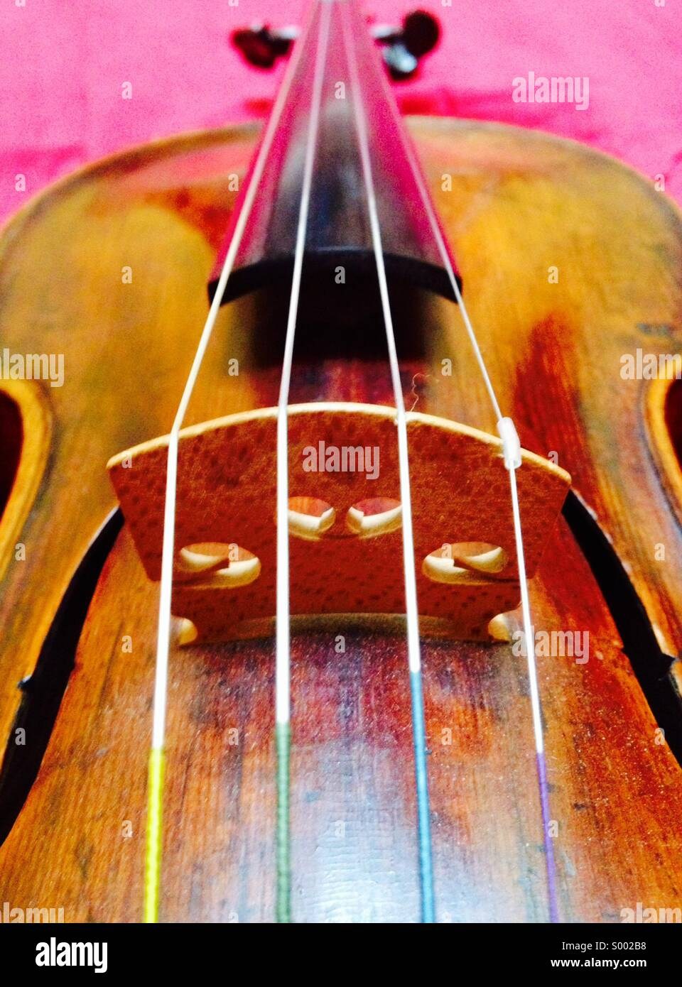 Violon, Close up de chaînes et pont Banque D'Images