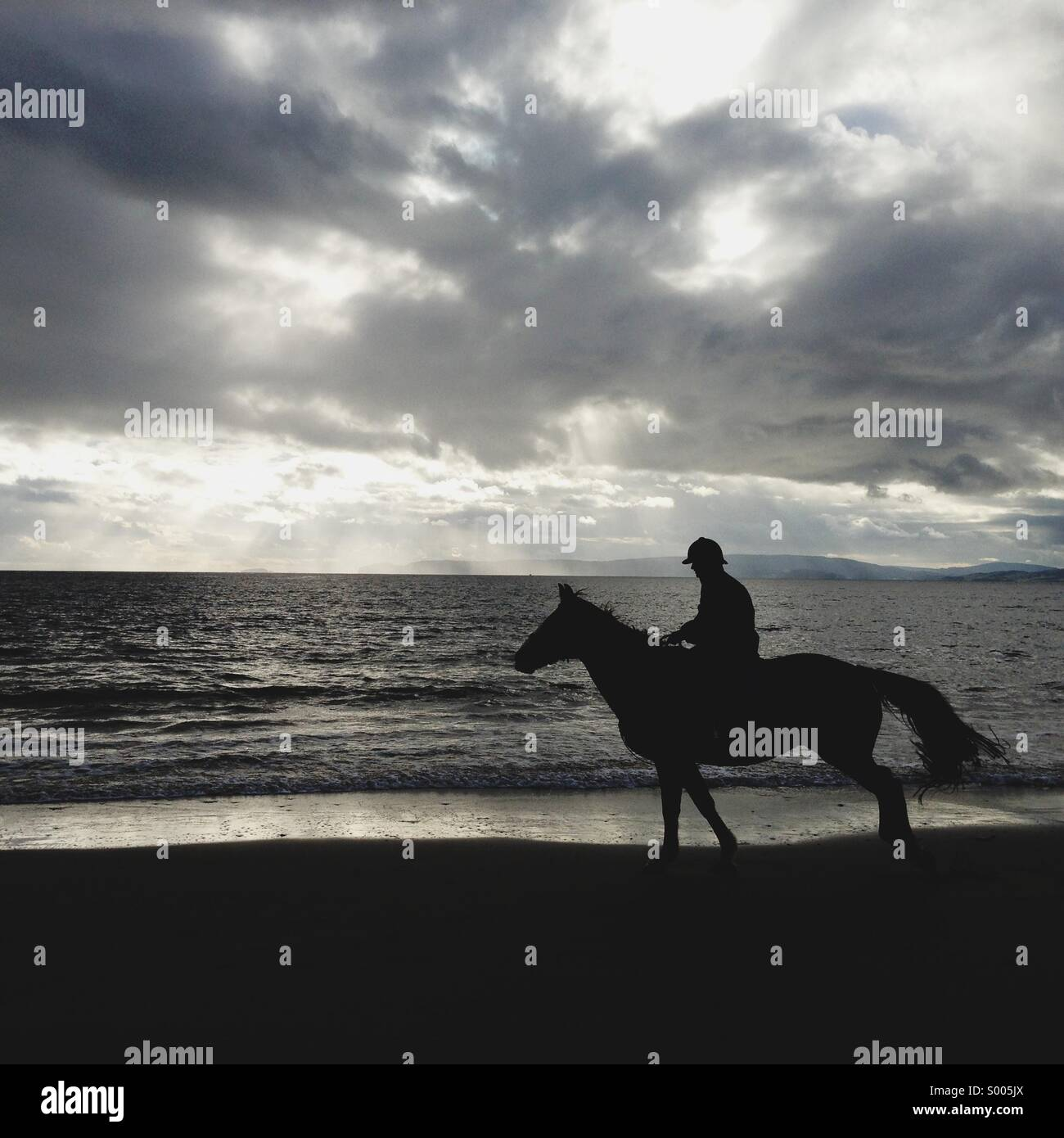 Le cheval et le cavalier sur silhouette plage Photo Stock