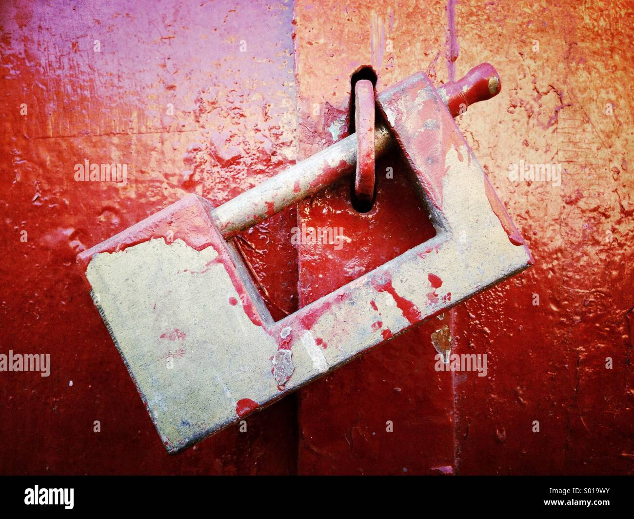 Lock et de la peinture rouge Photo Stock