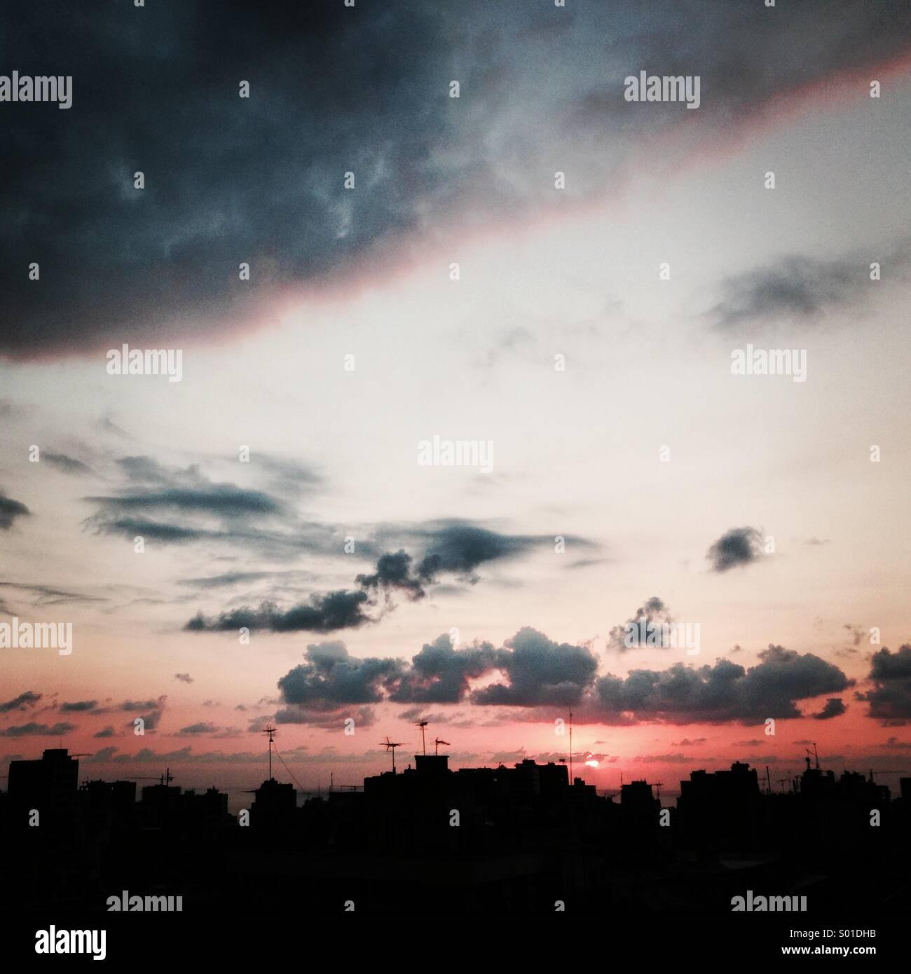 Cityscape coucher du soleil - Beyrouth Liban - Moyen-Orient Photo Stock