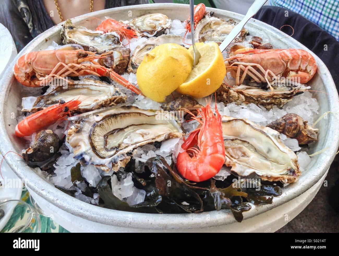 Les crustacés et les huîtres, plateau de fruits de mer à ice Photo Stock