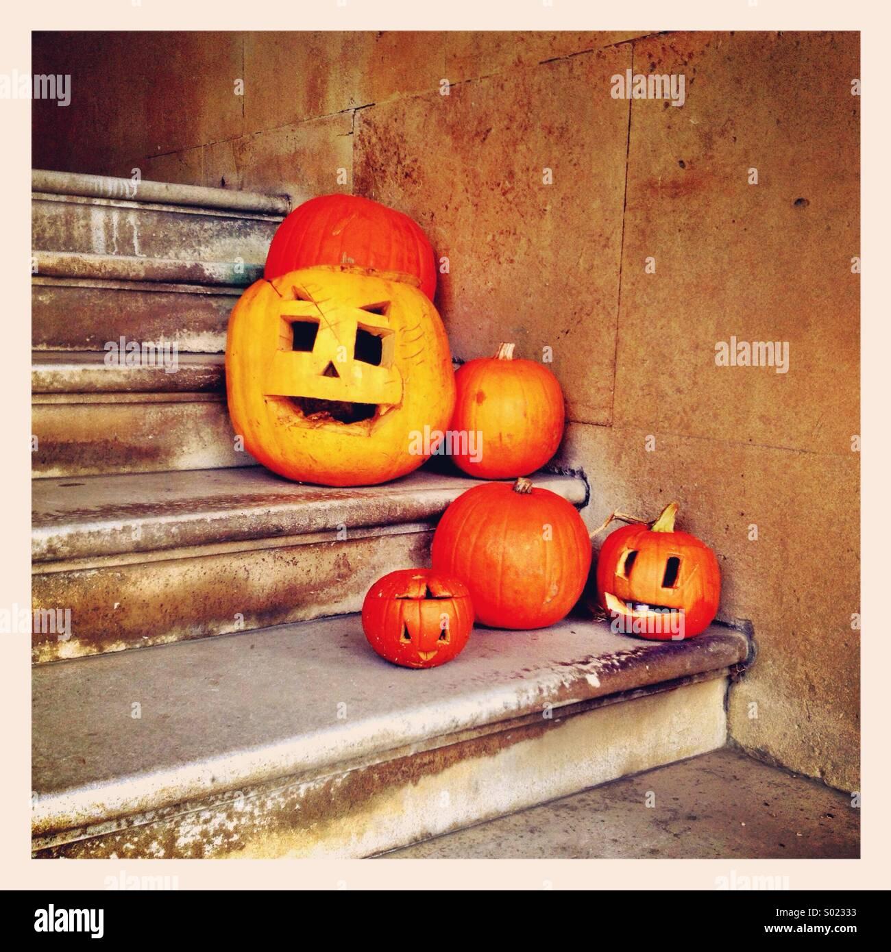 Les citrouilles à l'Halloween Photo Stock