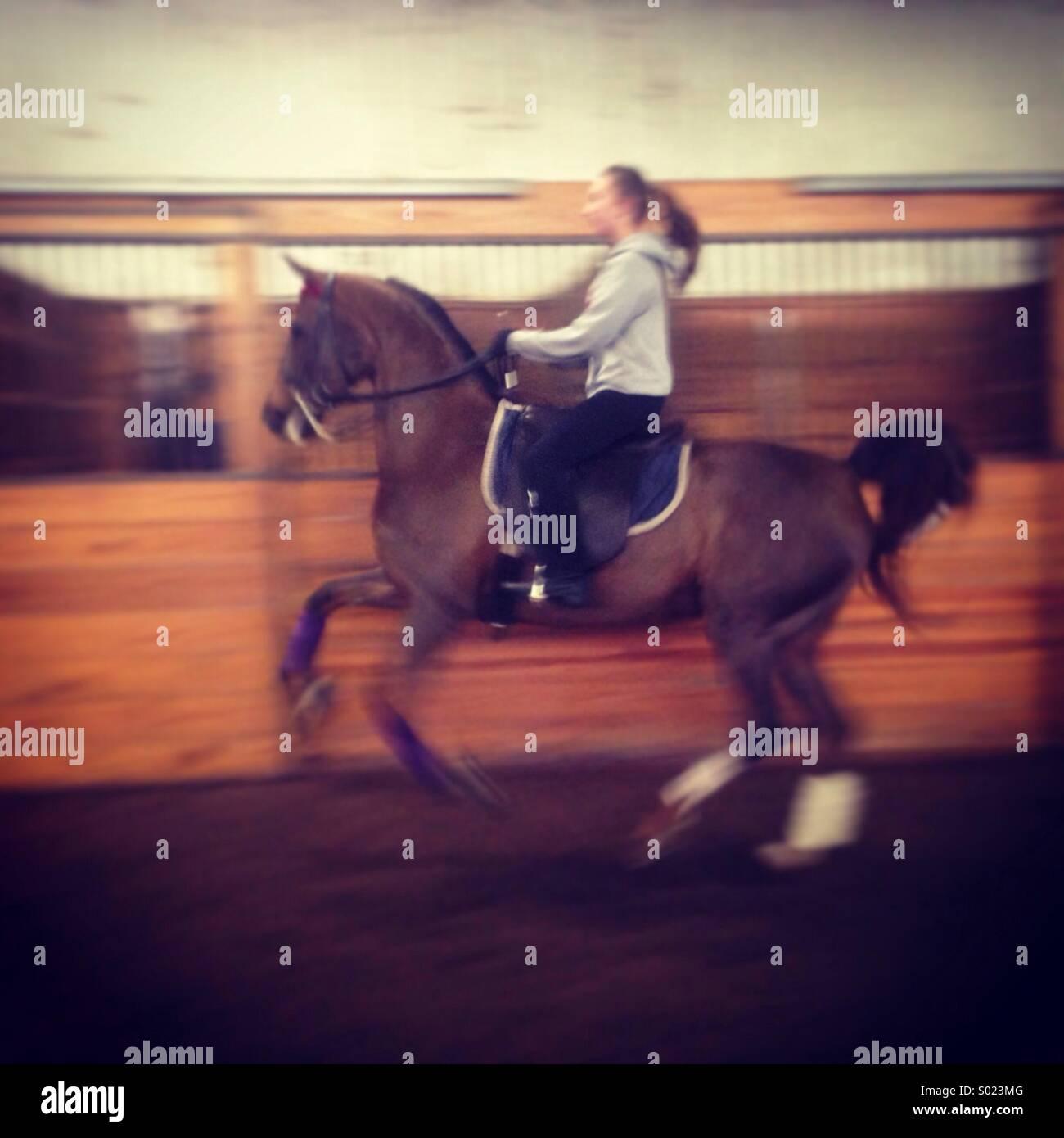 Girl riding horse Photo Stock