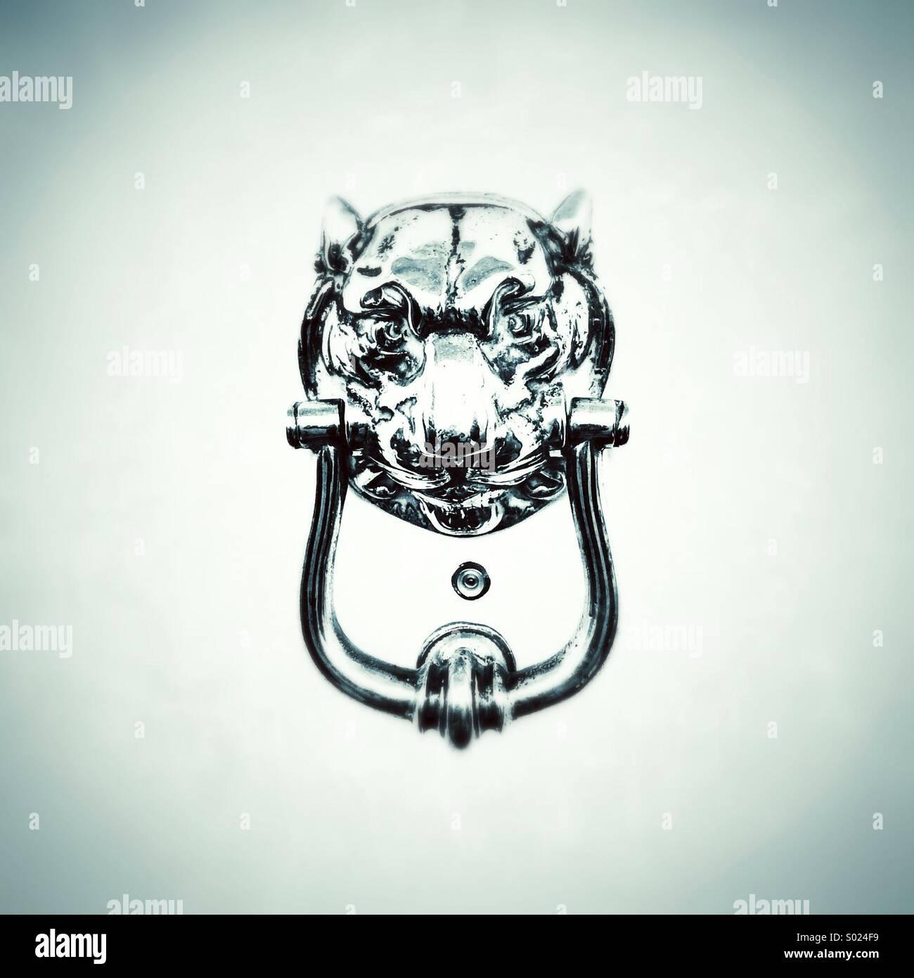 Lions Head knocker sur porte blanche Photo Stock